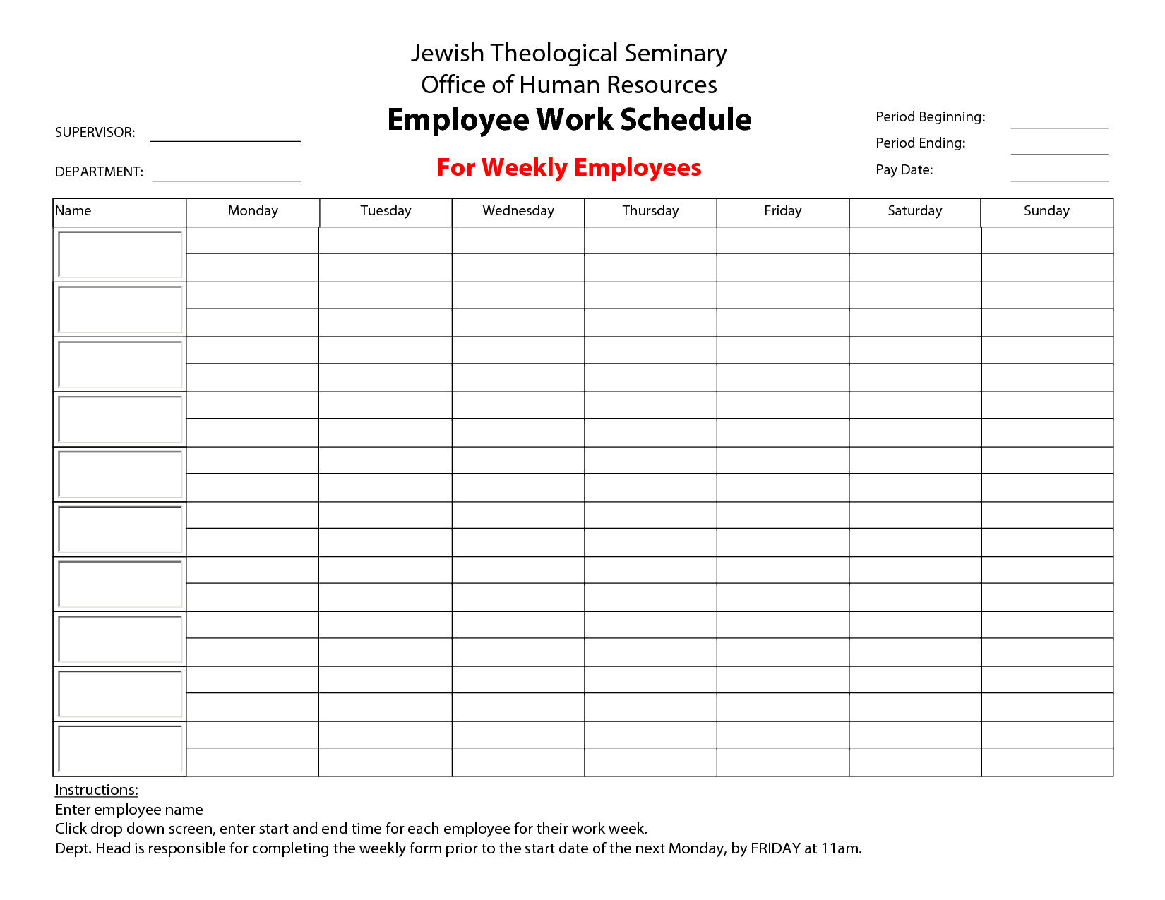 Free Printable Employee Schedule Maker Papers And Forms Template - Free Printable Hr Forms