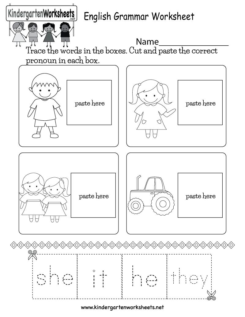 Free Printable English Grammar Worksheet For Kindergarten - Free Printable Ela Worksheets