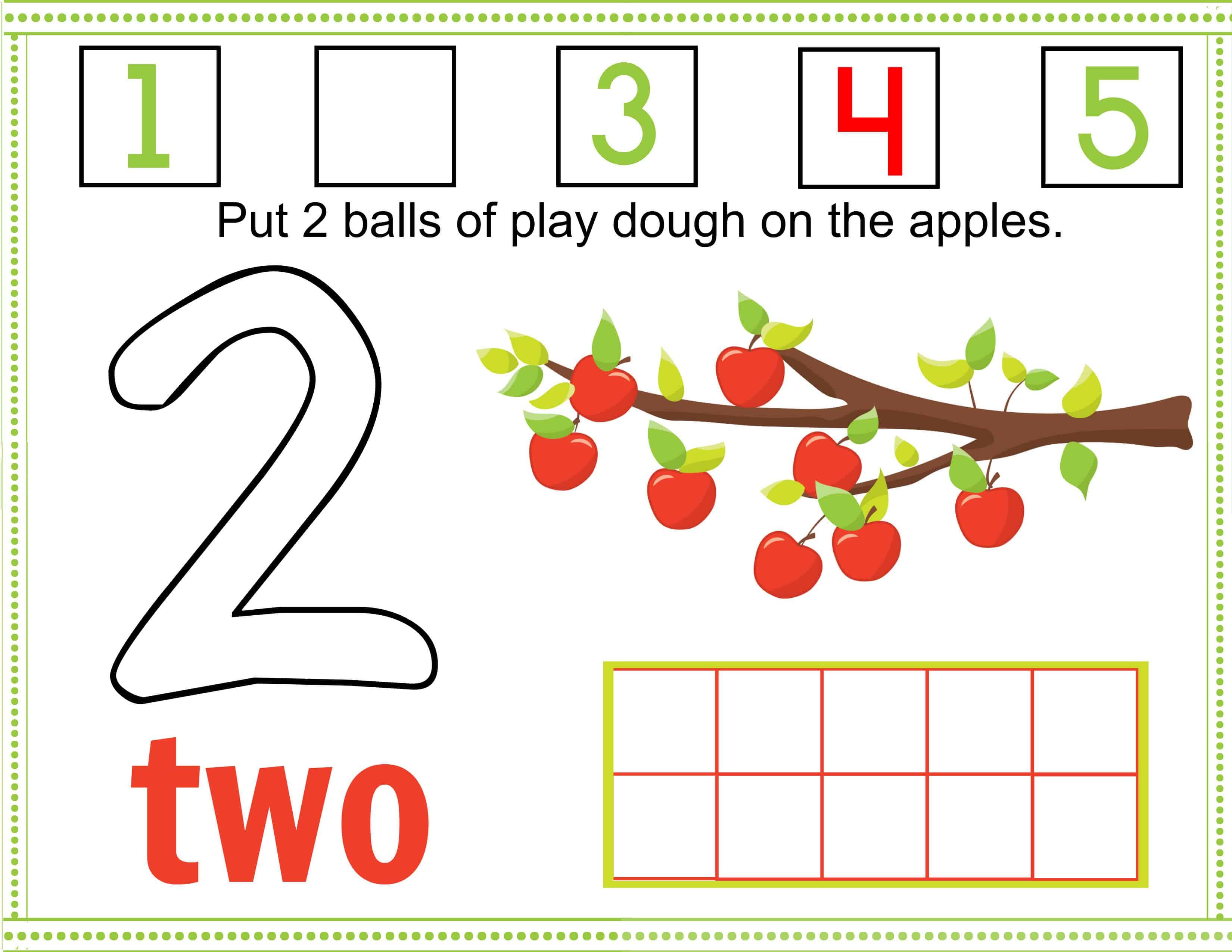 Free Printable Fall Apple Tree Numbers Play Dough Mats - Free Printable Playdough Mats