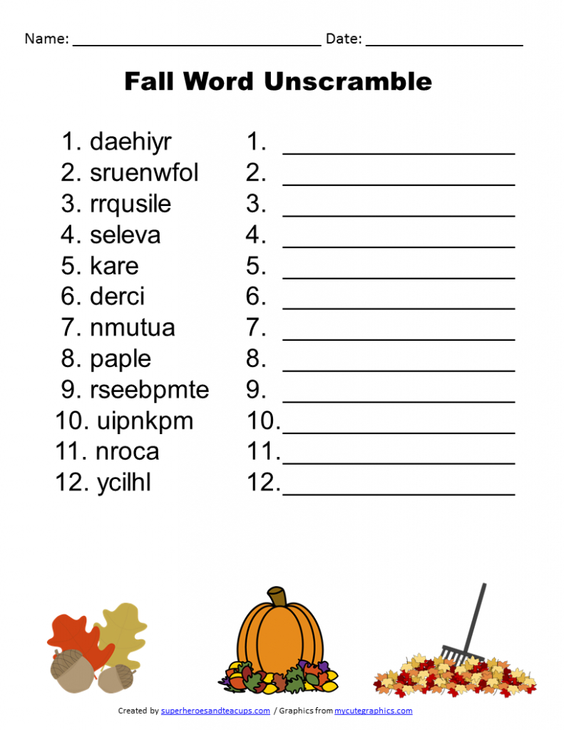 Free Printable - Fall Word Unscramble | Games For Senior Adults - Free Printable Word Games