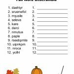 Free Printable – Fall Word Unscramble | Games For Senior Adults – Free Printable Word Scramble Worksheets