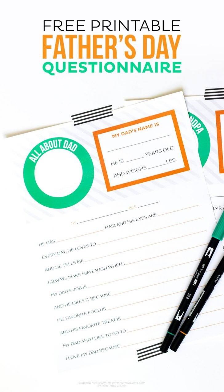Free Printable Dad Questionnaire