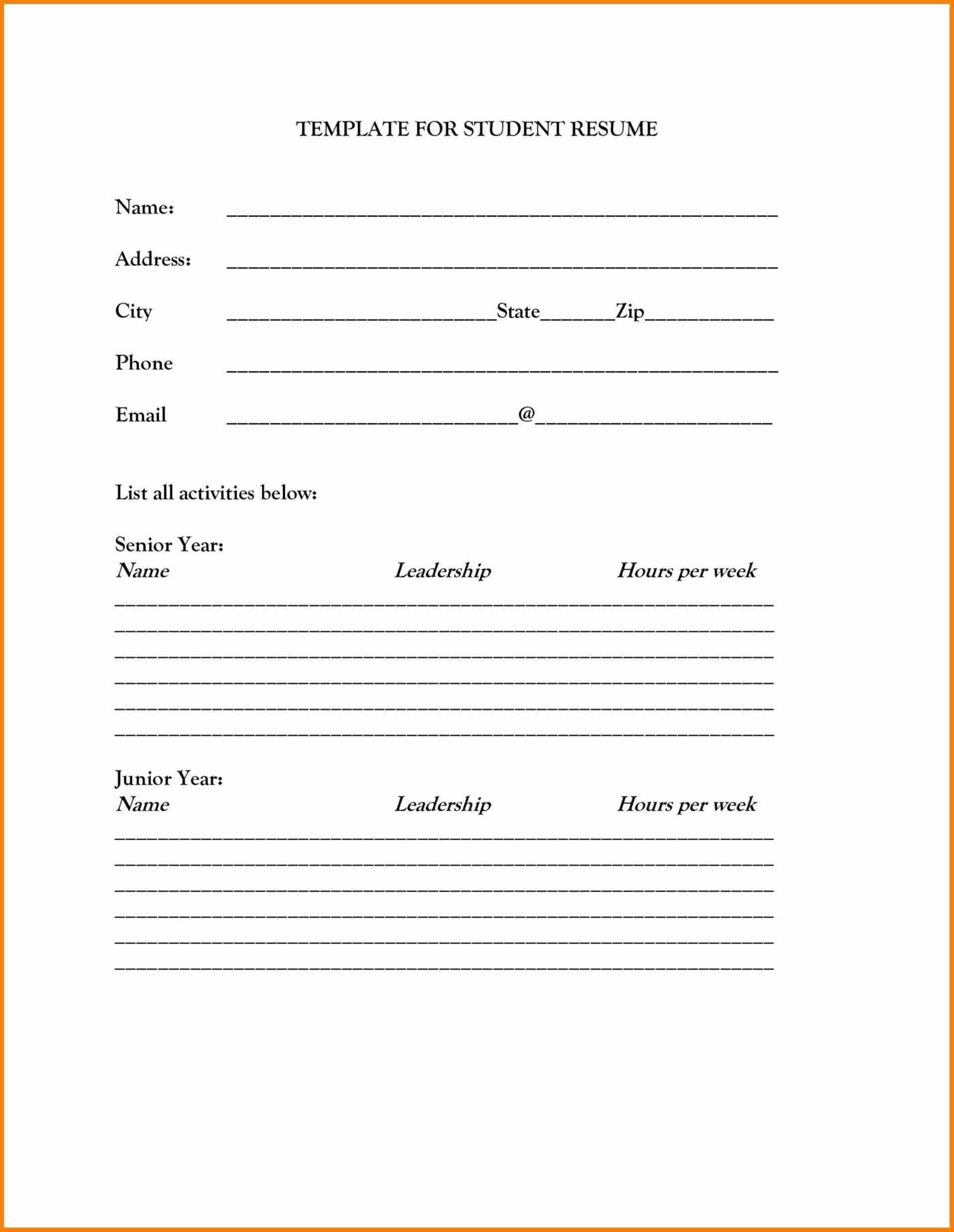 Free Printable Fill In The Blank Resume Templates Inspirationa - Free Printable Fill In The Blank Resume Templates