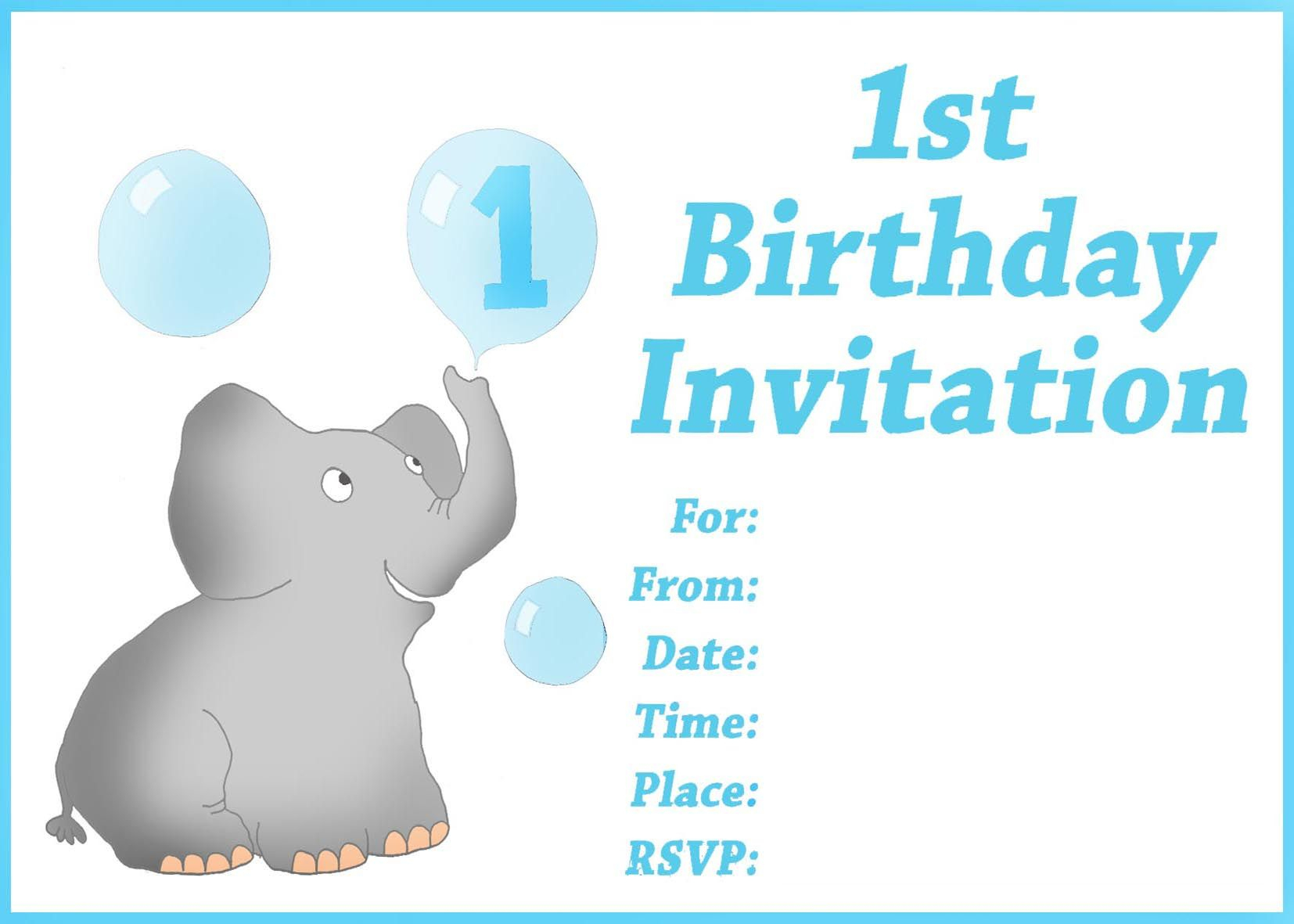 Free Printable First Birthday Invitations For Boy For Donny - Customized Birthday Cards Free Printable
