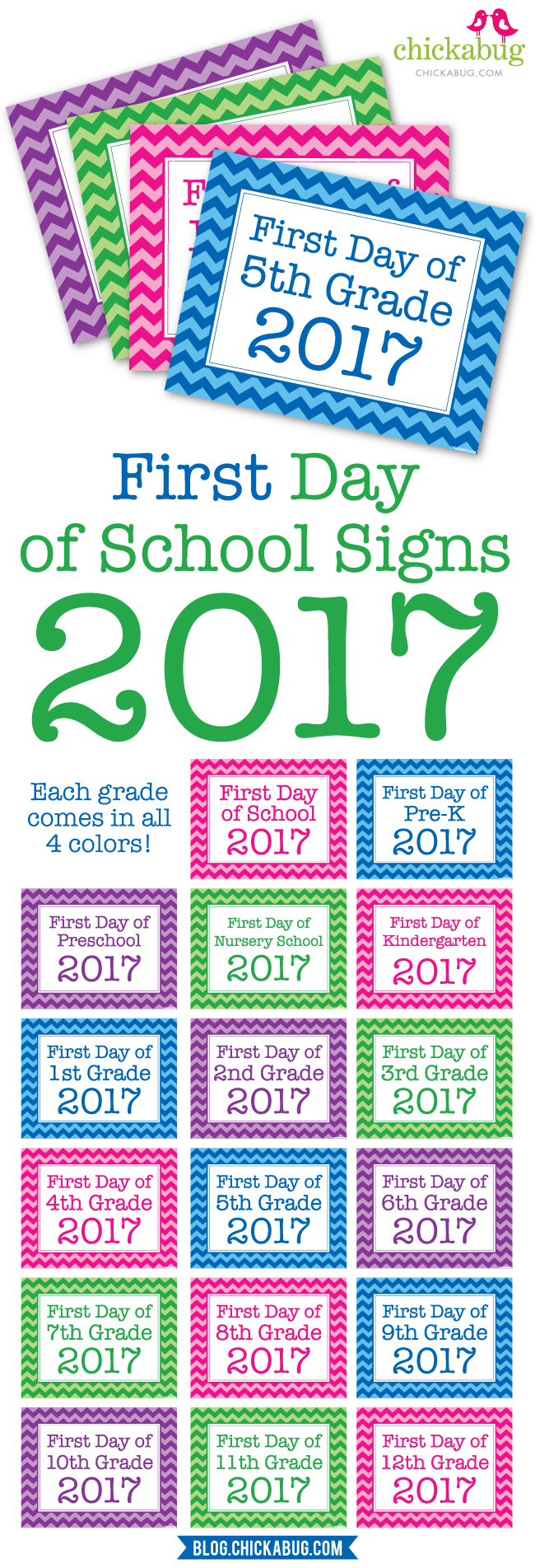 Free Printable First Day Of School Signs 2017 | Chickabug - Free Printable First Day Of School Signs 2017