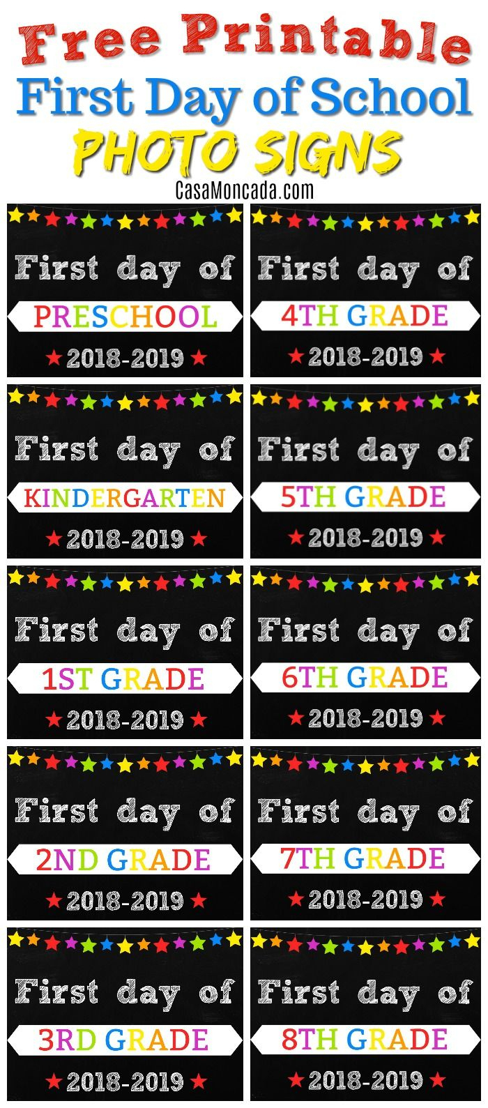 Free Printable First Day Of School Signs   Back To School - Free Printable Back To School Signs