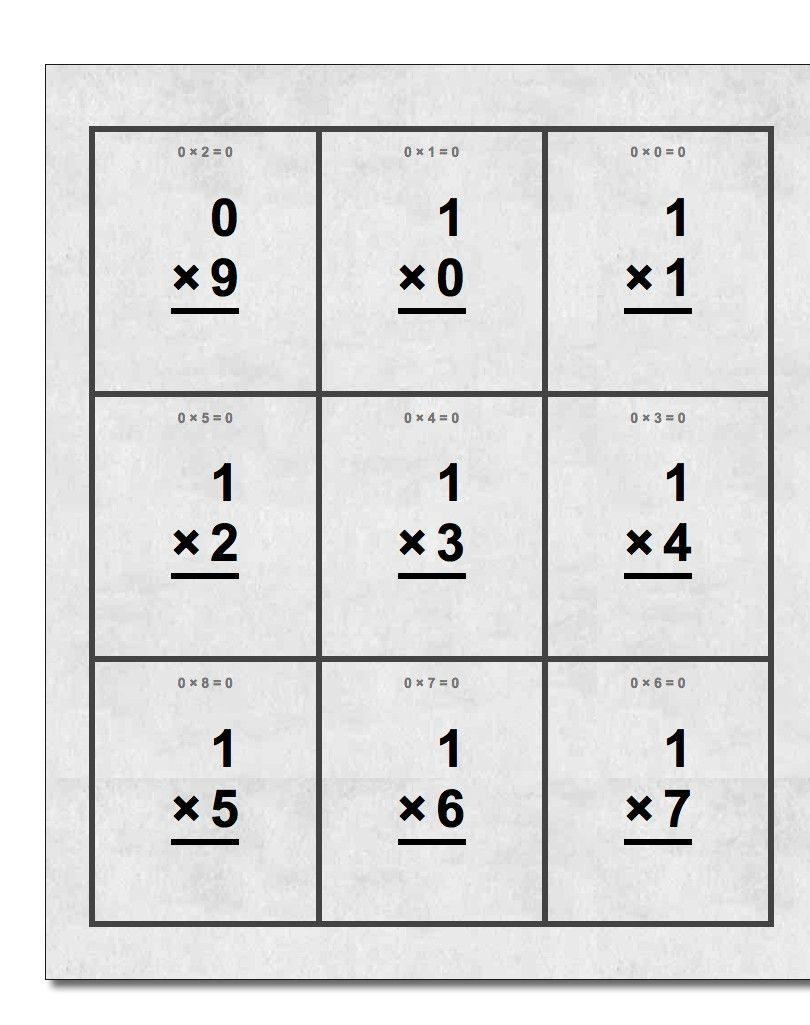 Free Printable Flash Cards For Multiplication Math Facts ...