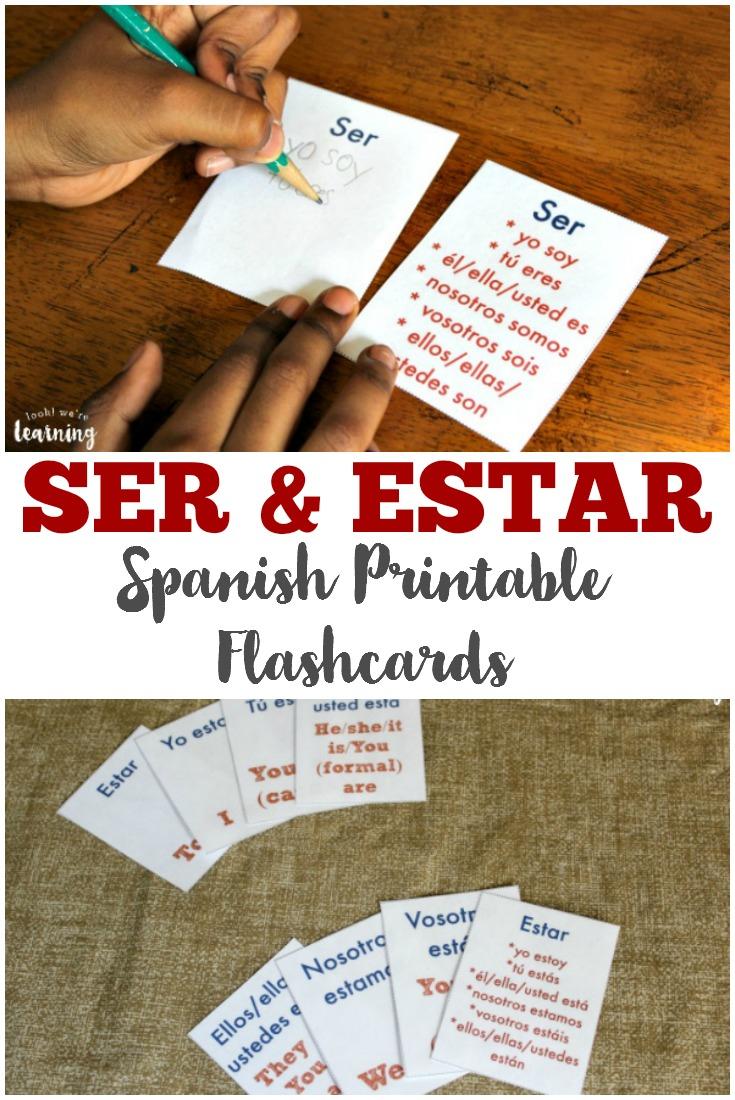 Free Printable Flashcards: Ser And Estar Flashcards - Free Printable Spanish Verb Flashcards
