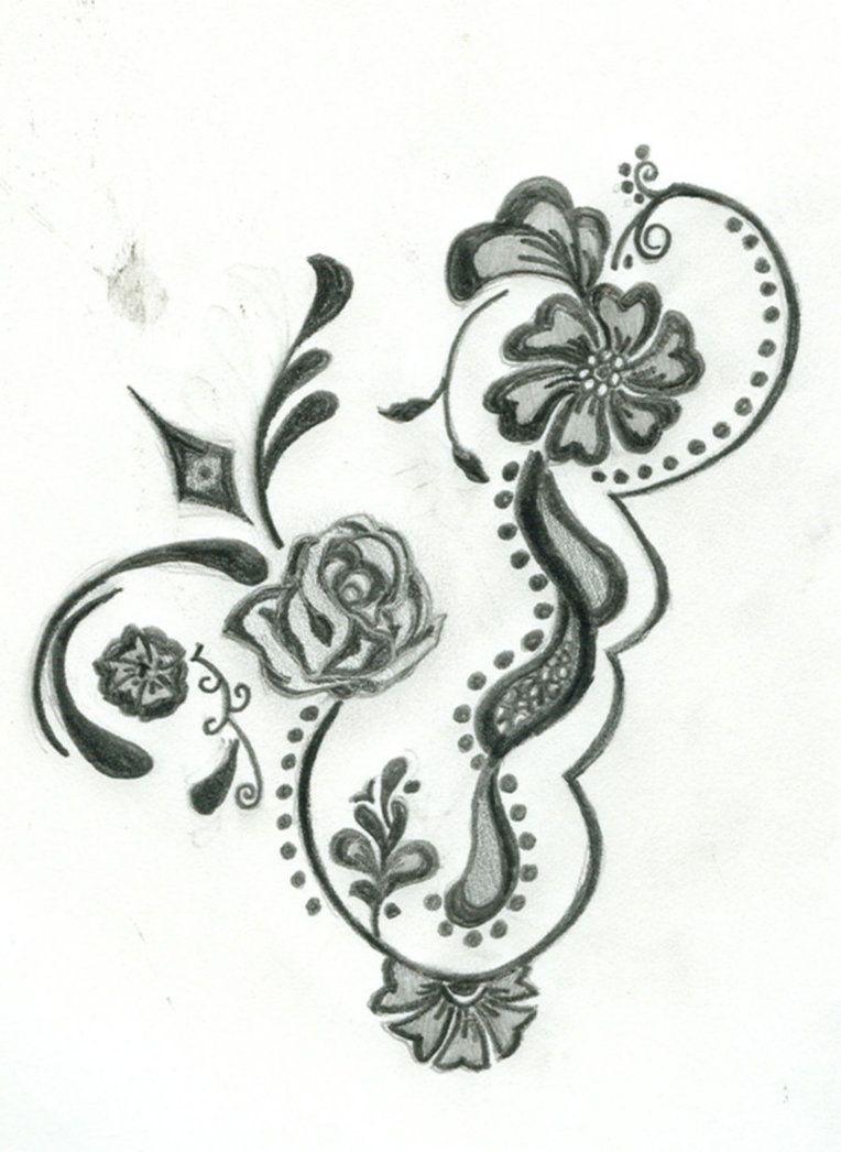 Free Printable Floral Tattoo Designs | Flower Henna Design Four - Free Printable Henna Tattoo Designs
