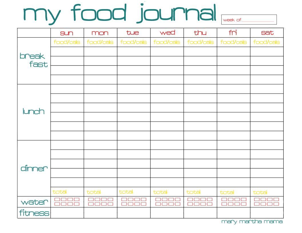 Free Printable Food Journal   Ellipsis - Free Printable Food Journal