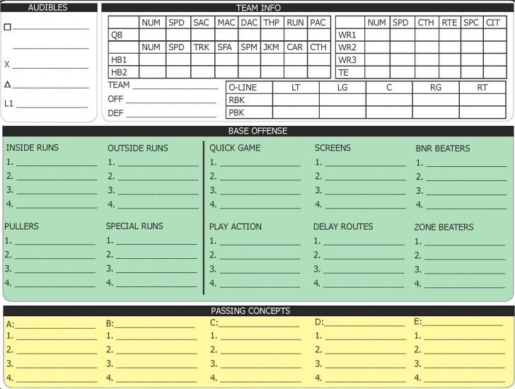 Free Printable Football Play Sheets