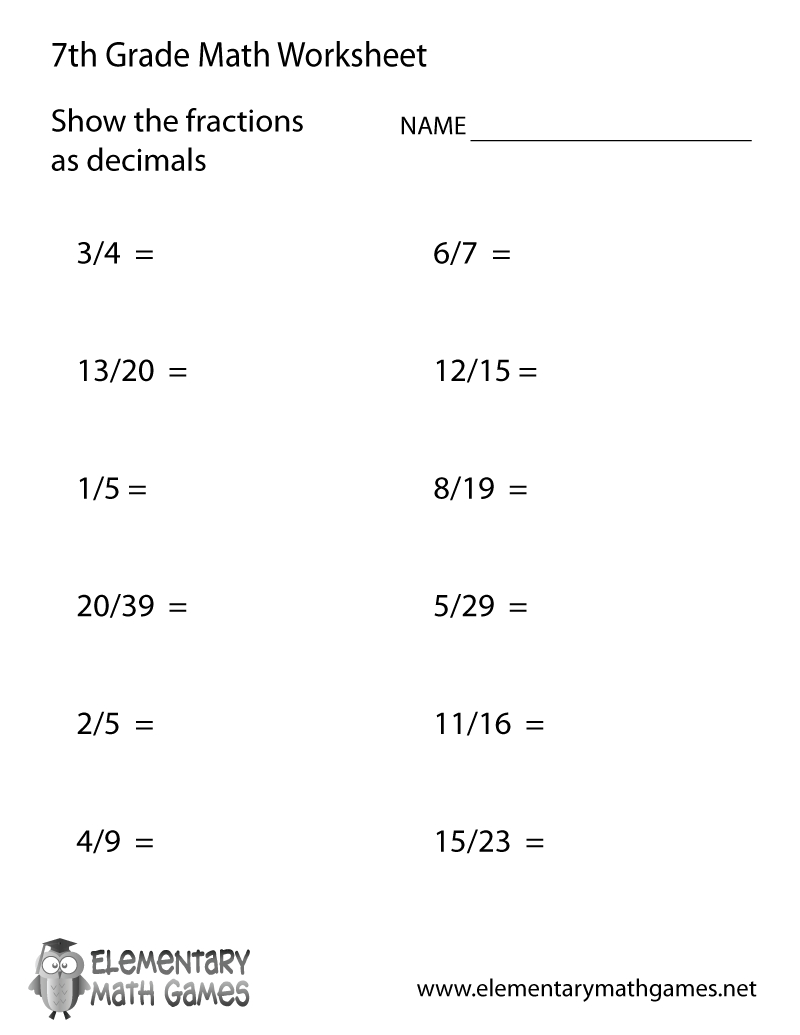 Free Printable Fractions And Decimals Worksheet For Seventh Grade - 7Th Grade Worksheets Free Printable