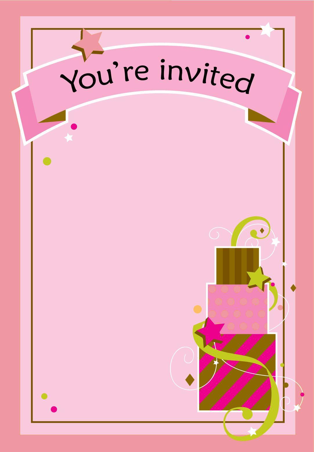Free Printable Girl Fun Birthday Invitation   Cake & Cupcakes - Free Printable Girl Birthday Invitations