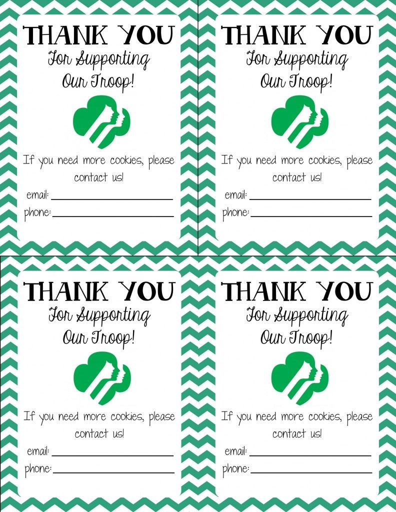 Free Printable! Girl Scout Cookie Thank You Cards | Girl Scouts - Free Printable Eagle Scout Thank You Cards