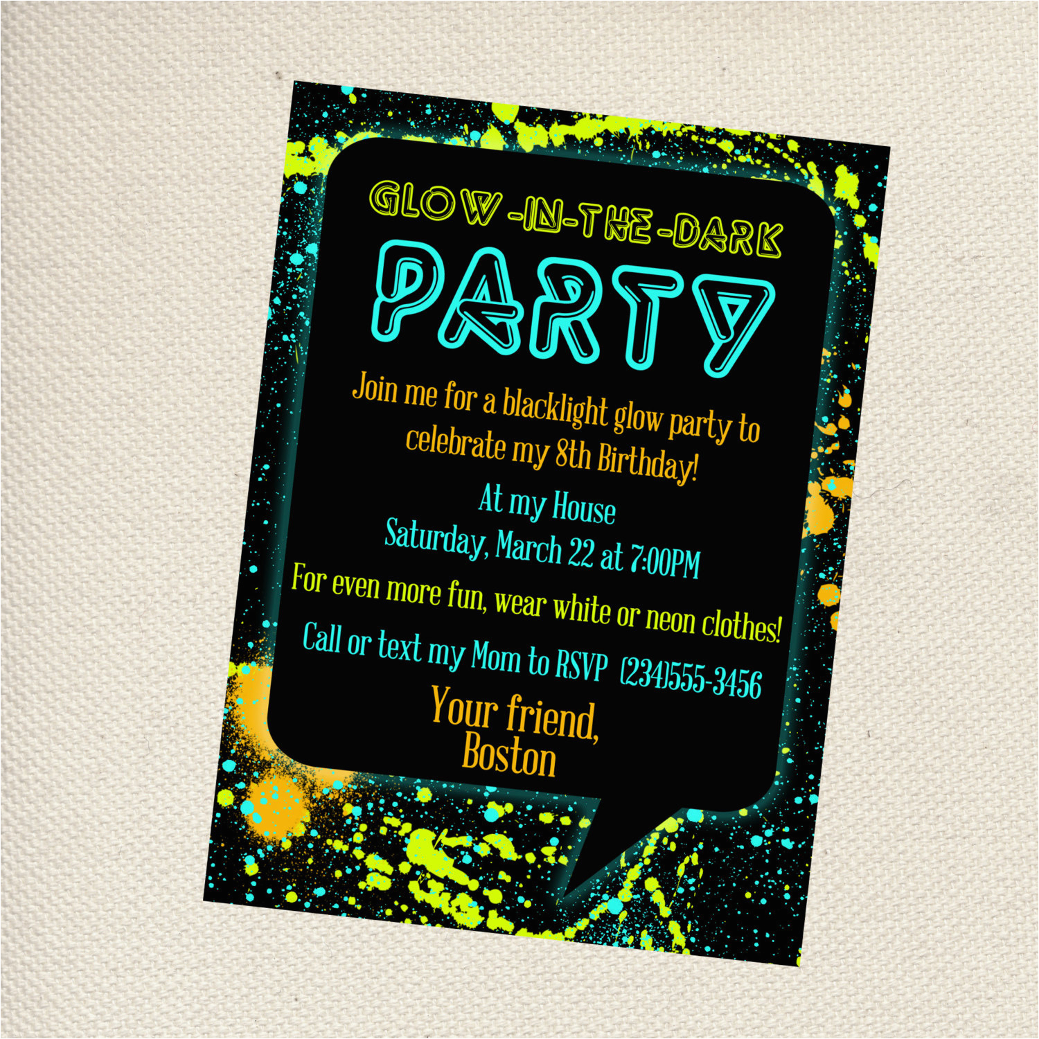 Free Printable Glow In The Dark Birthday Party Invitations Create - Free Printable Glow In The Dark Birthday Party Invitations