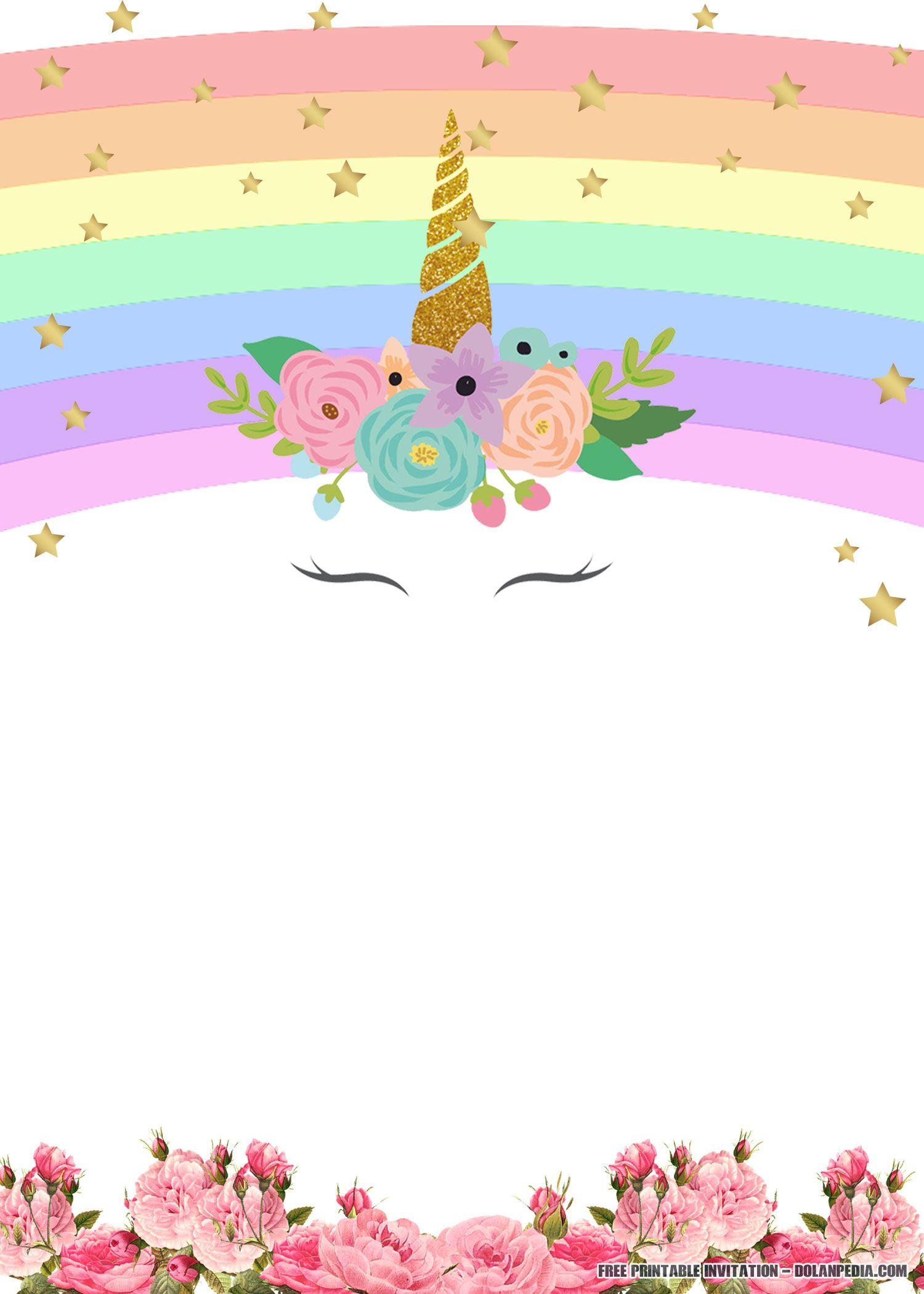 Free Printable Golden Unicorn Birthday Invitation | Unicorn - Free Printable Unicorn Invitations