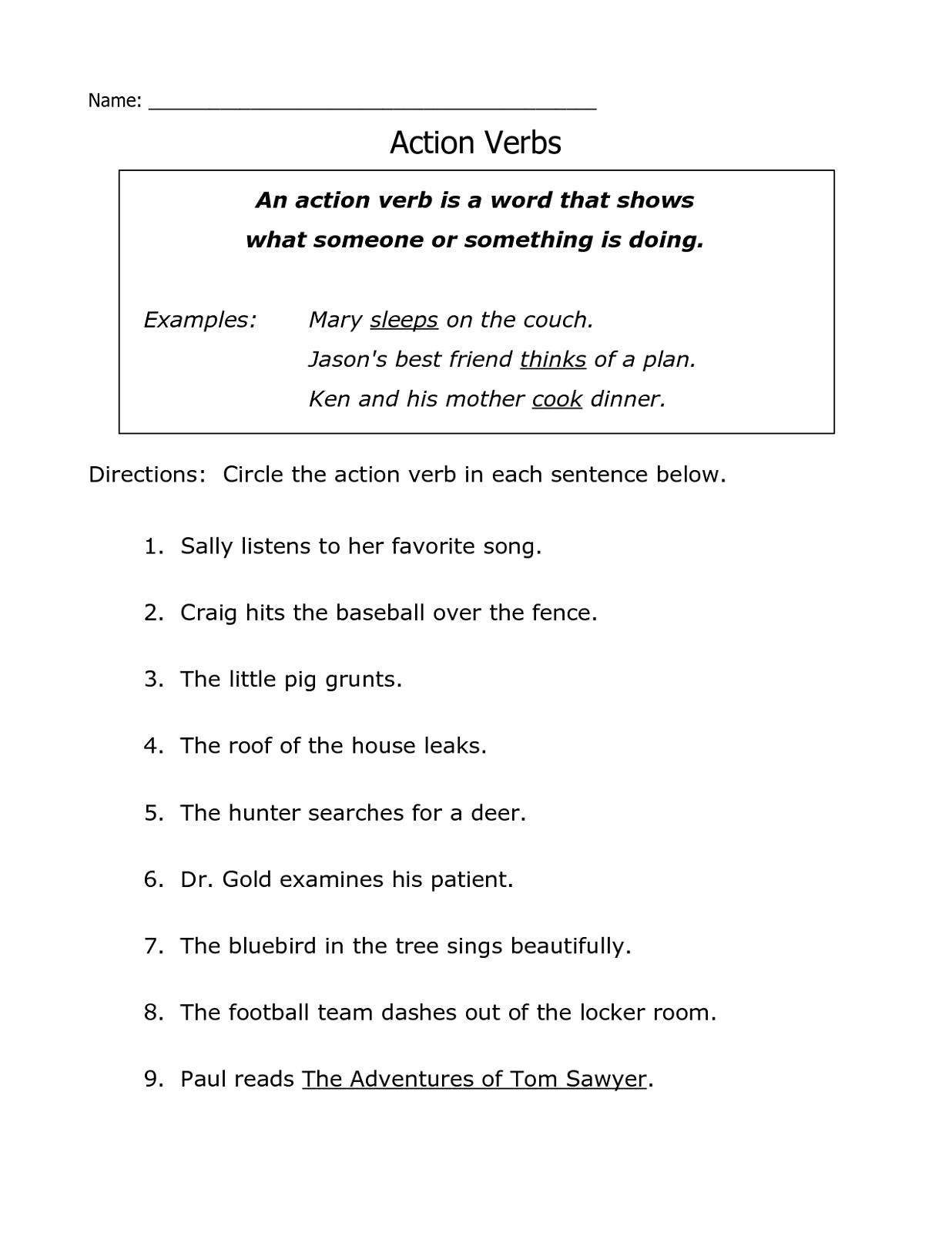 Free Printable Grammar Worksheets Action Verb | K5 Worksheets | Kids - Free Printable Grammar Worksheets For 2Nd Grade
