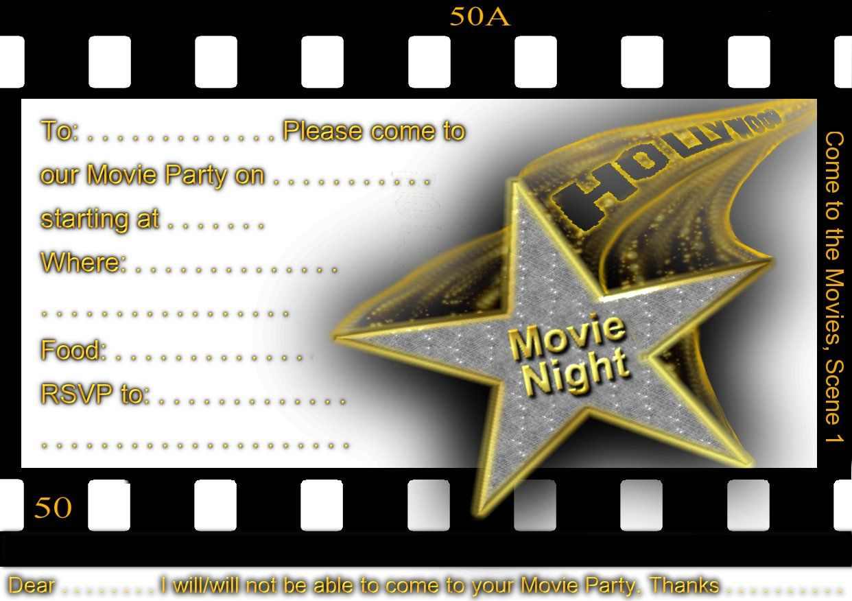 Free Printable Gratuation Movie Themed Invitations | Printable Movie - Free Printable Movie Themed Invitations