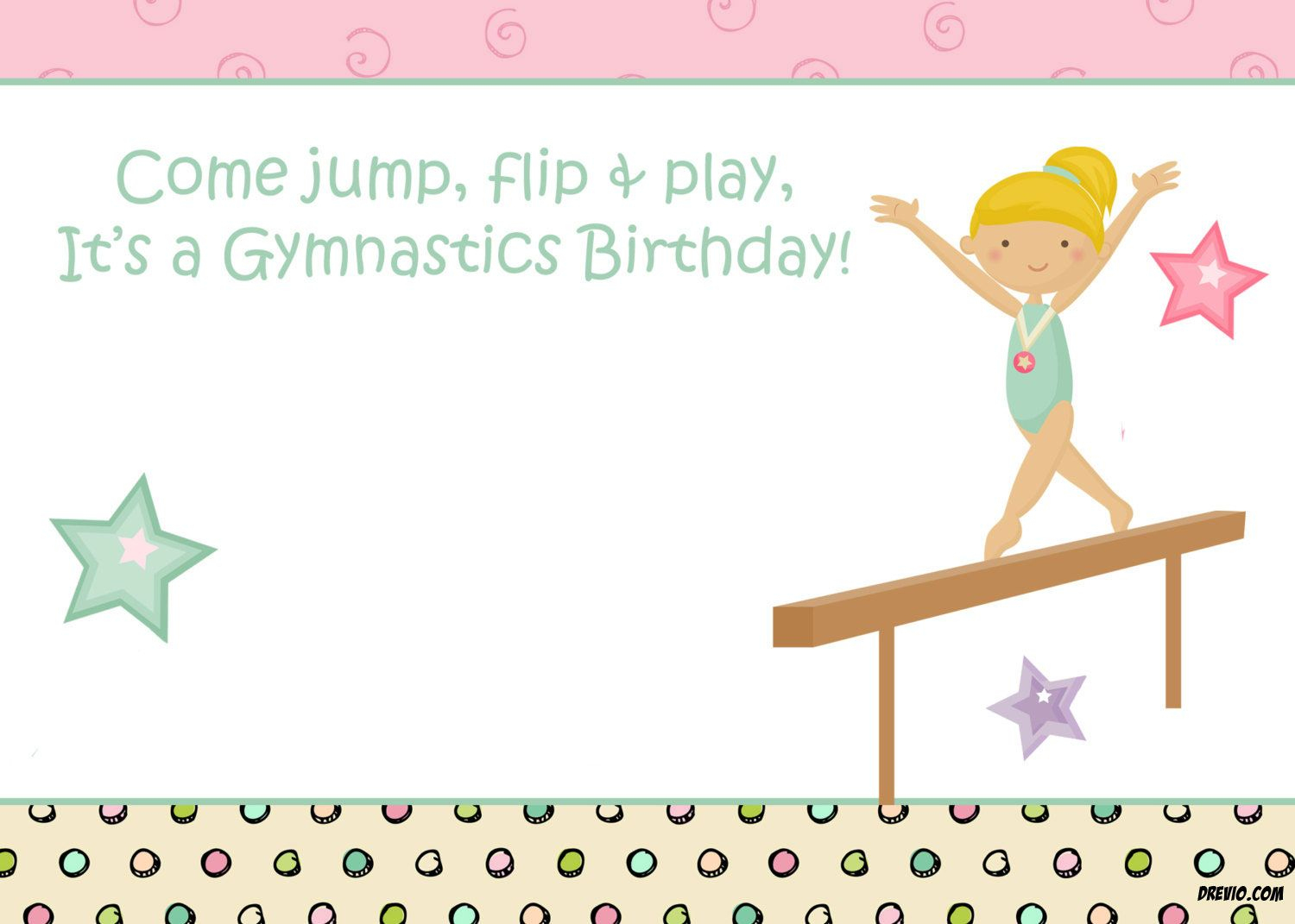 Free Printable Gymnastic Birthday Invitations - | Free Printable - Free Printable Birthday Invitations For Kids