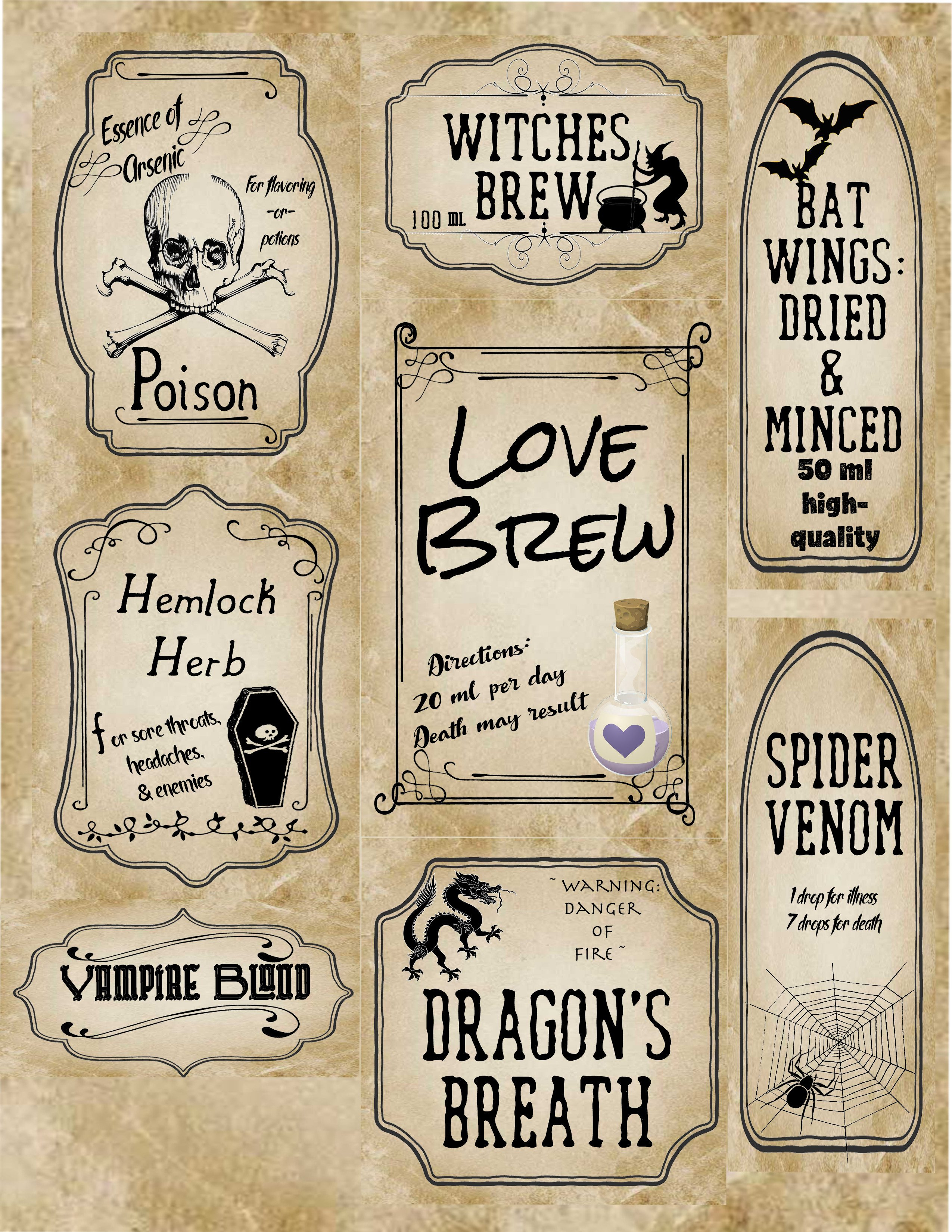 Free Printable Halloween Apothecary Labels | Halloween Arts - Free Printable Halloween Bottle Labels