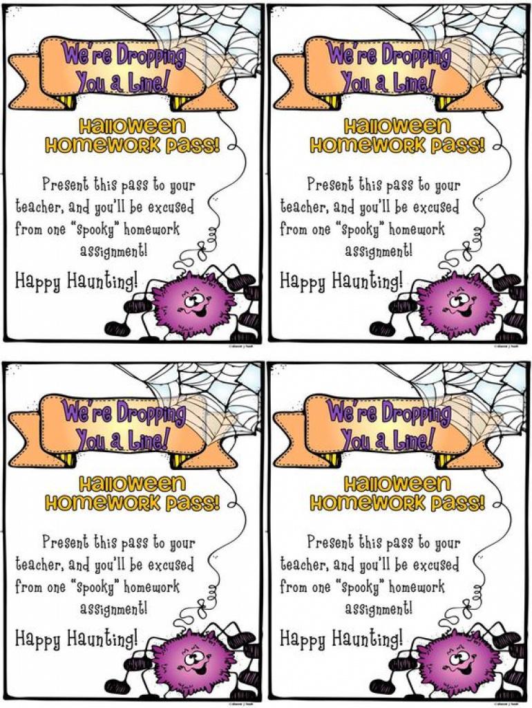 Free Printable Halloween Homework Pass | Hallowen With Free - Free Printable Halloween Homework Pass