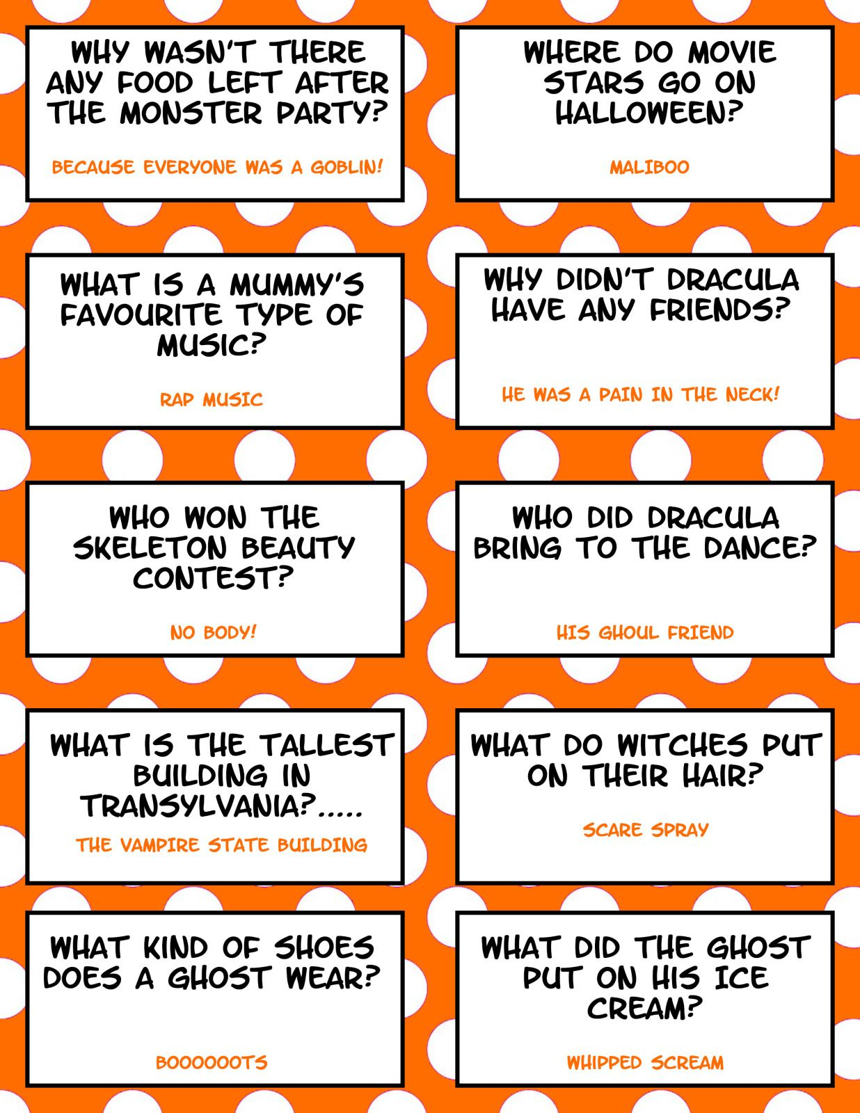 Free Printable Halloween Jokes For Kids - Halloween Lunch Box Jokes - Free Printable Jokes For Adults