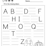 Free Printable Halloween Missing Letter Worksheet For Kindergarten   Free Printable Letter Worksheets