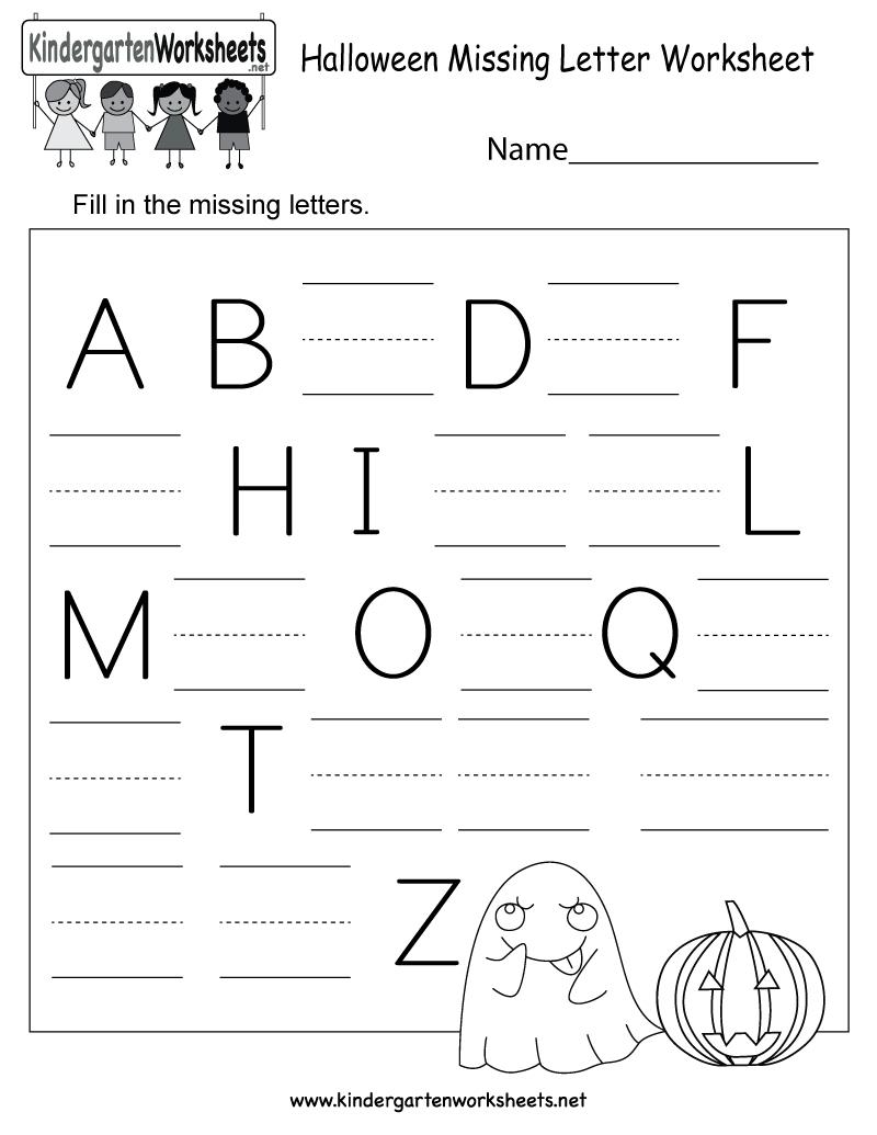 Free Printable Halloween Missing Letter Worksheet For Kindergarten - Free Printable Letter Worksheets
