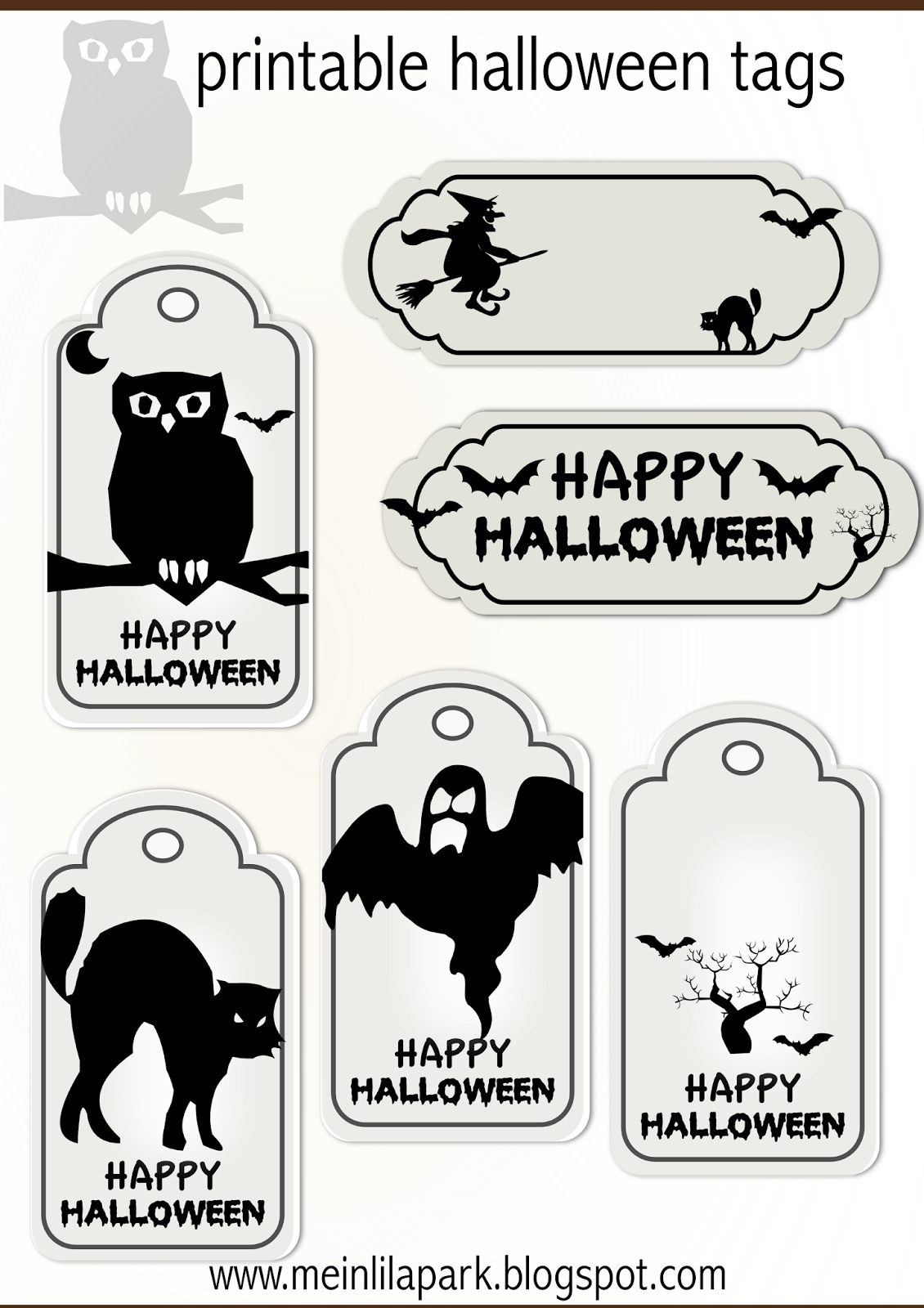 Free Printable Halloween Tags - Druckvorlage Halloween - Freebie - Free Printable Halloween Tags