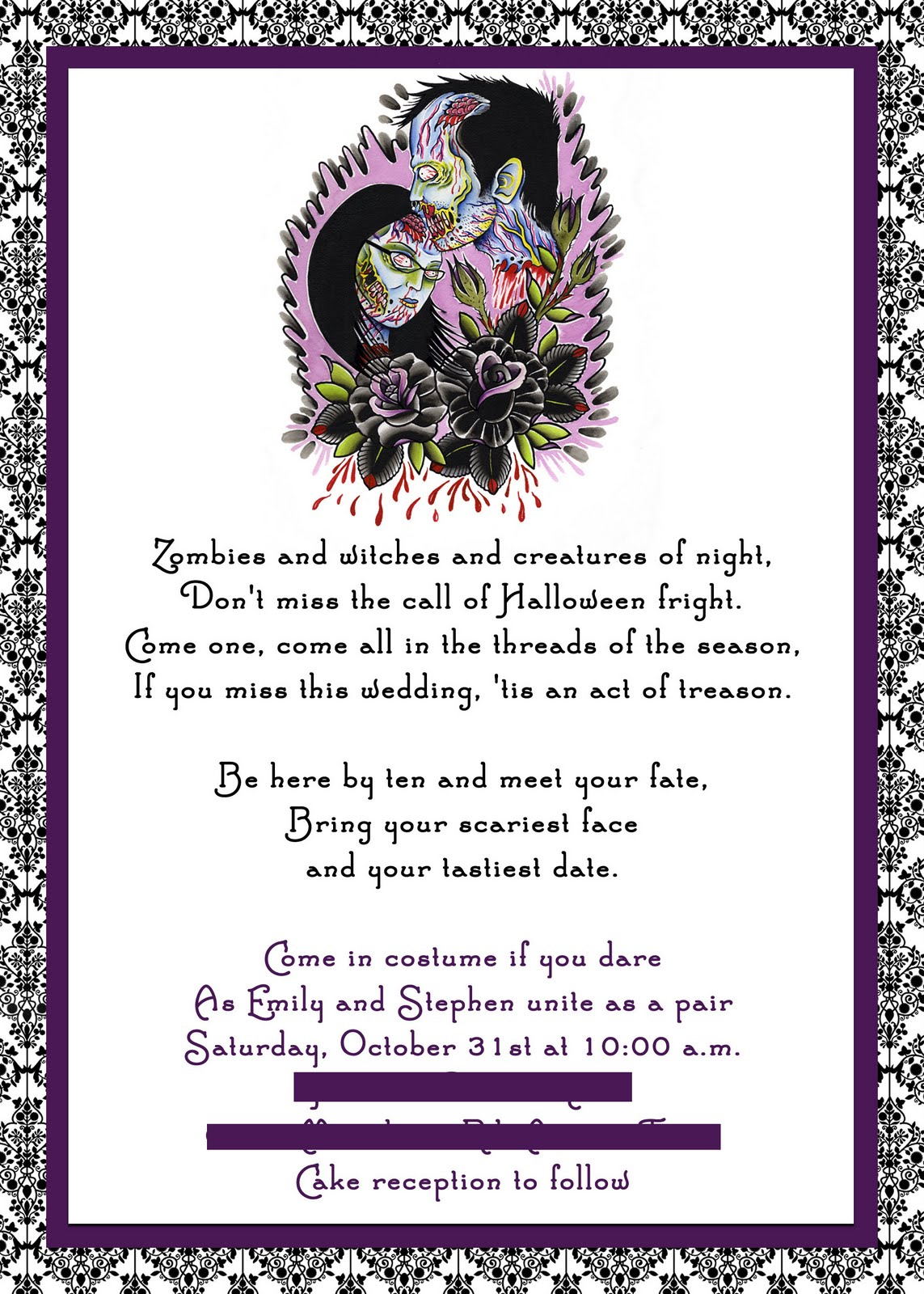 Free Printable Halloween Wedding Invitations Purple Halloween - Free Printable Halloween Wedding Invitations