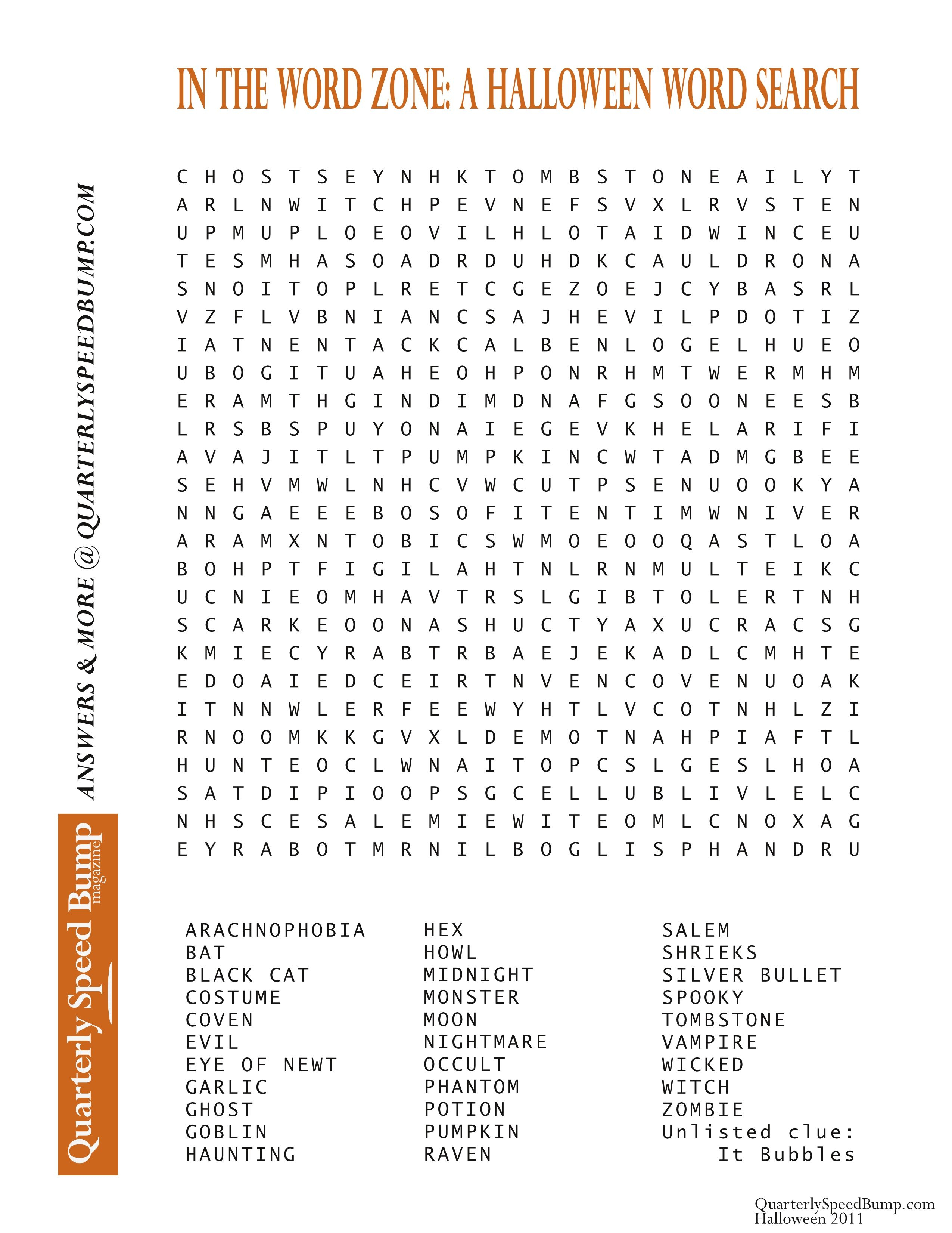 Free Printable Halloween Word Search Puzzles | Halloween Puzzle For - Halloween Crossword Printable Free