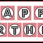 "Free Printable ""happy Birthday"" Banner / Red, Black & White   Free Printable Birthday Banner"