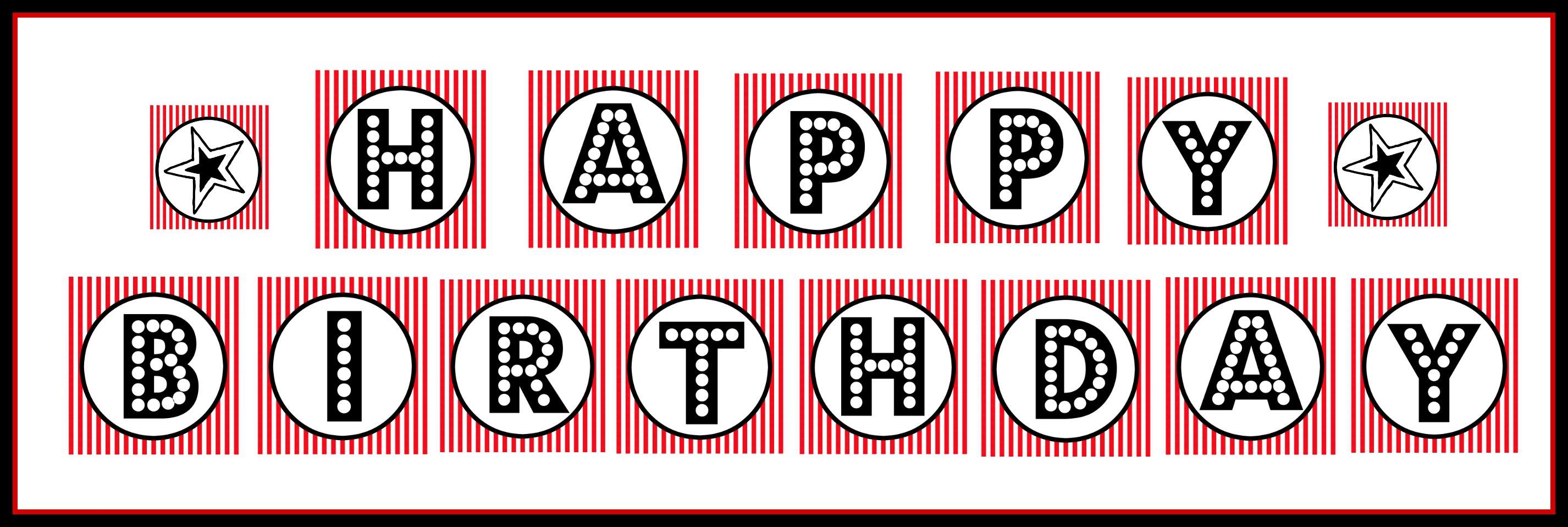 "Free Printable ""happy Birthday"" Banner / Red, Black & White - Free Printable Birthday Banner"