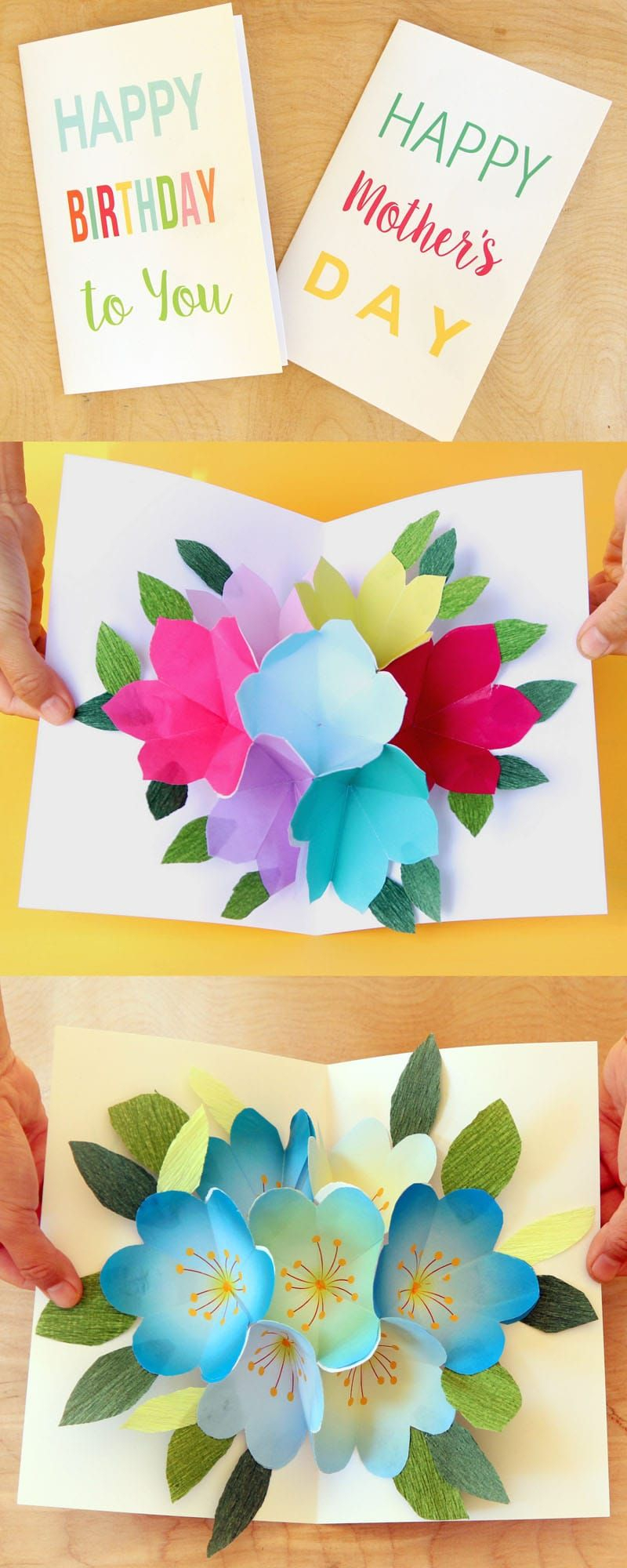 Free Printable Happy Birthday Card With Pop Up Bouquet   Printables - Free Printable Birthday Cards For Her