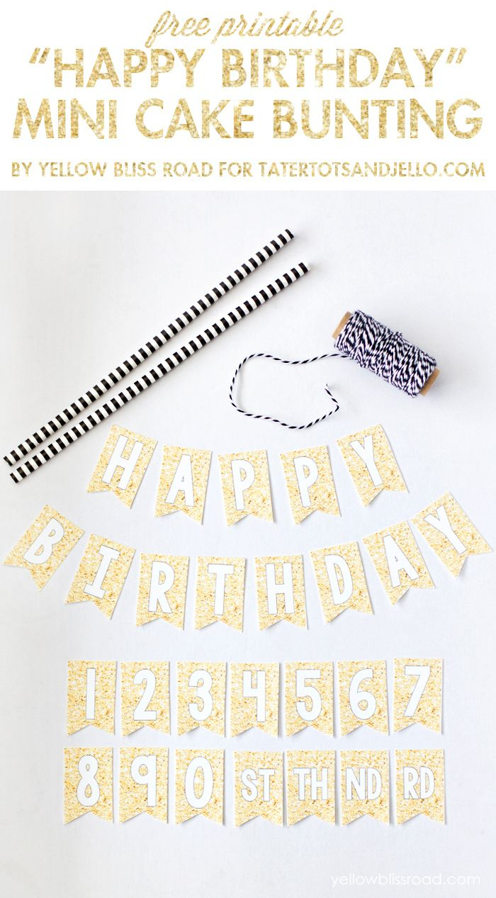Free Printable Happy Birthday Mini Cake Bunting   Wantneedlove - Free Printable Birthday Cake