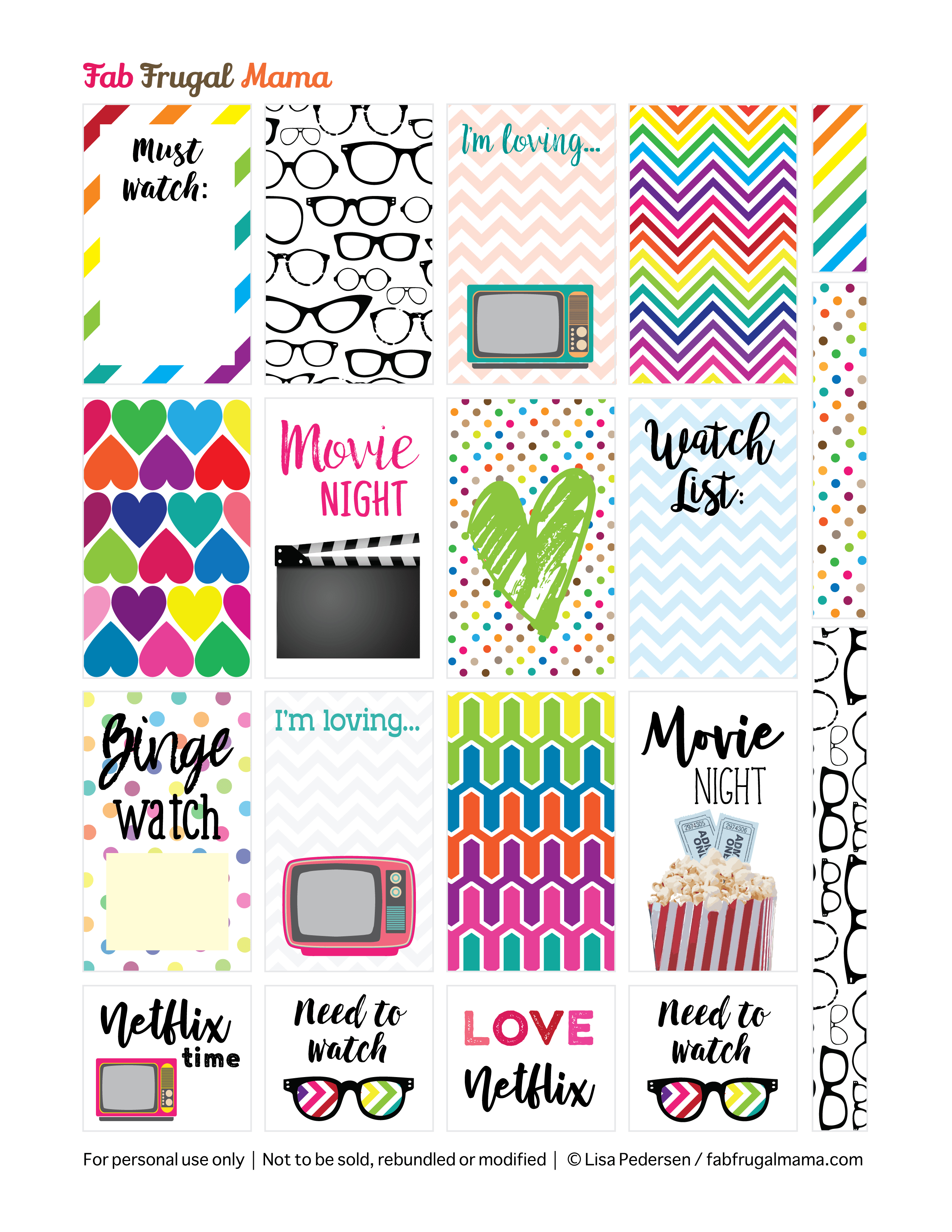 Free Printable Happy Planner Tv & Movie Stickers - Fab Frugal Mama - Happy Planner Free Printable Stickers