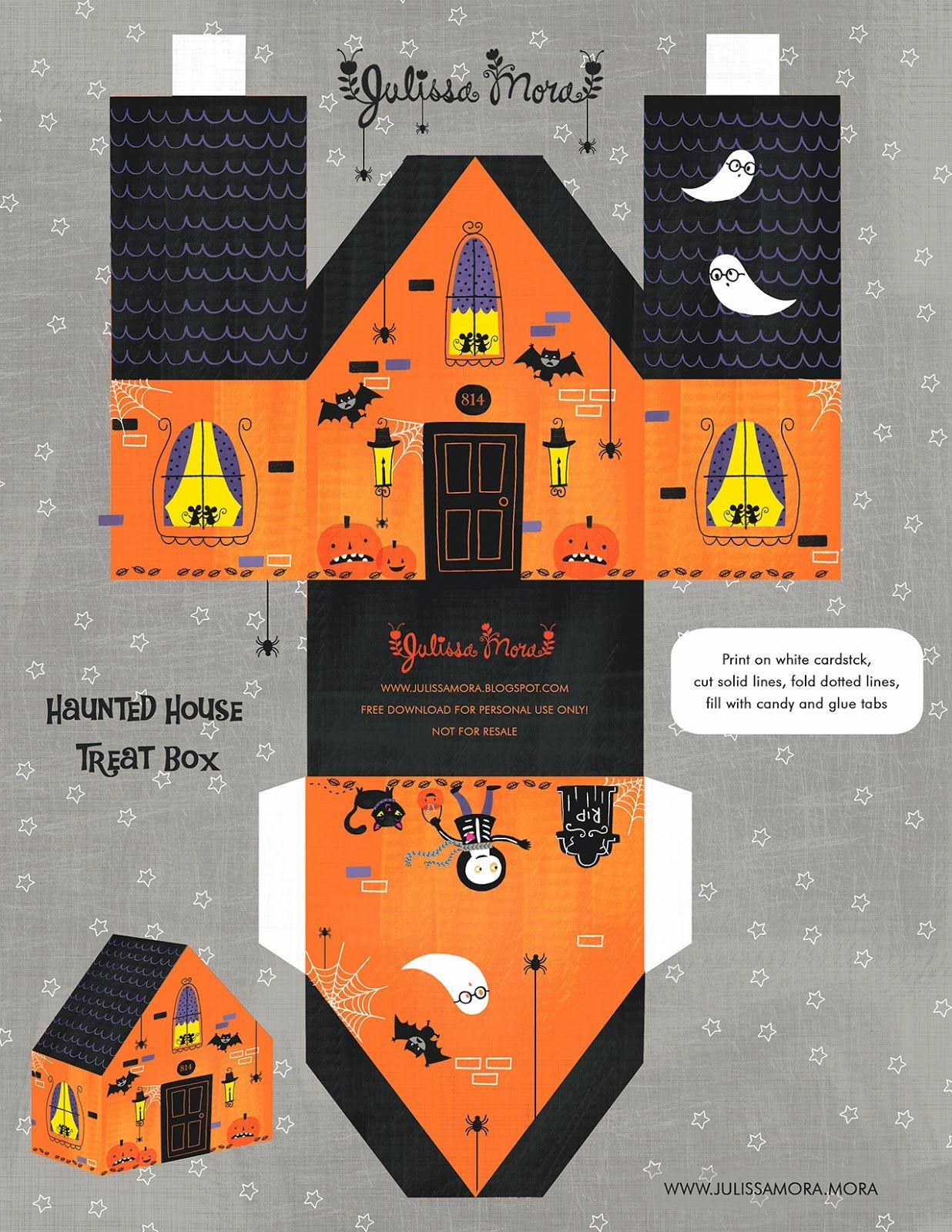 Free Printable Haunted House Treat Box ^^ #paperhouse | Sketches And - Free Printable Halloween Paper Crafts