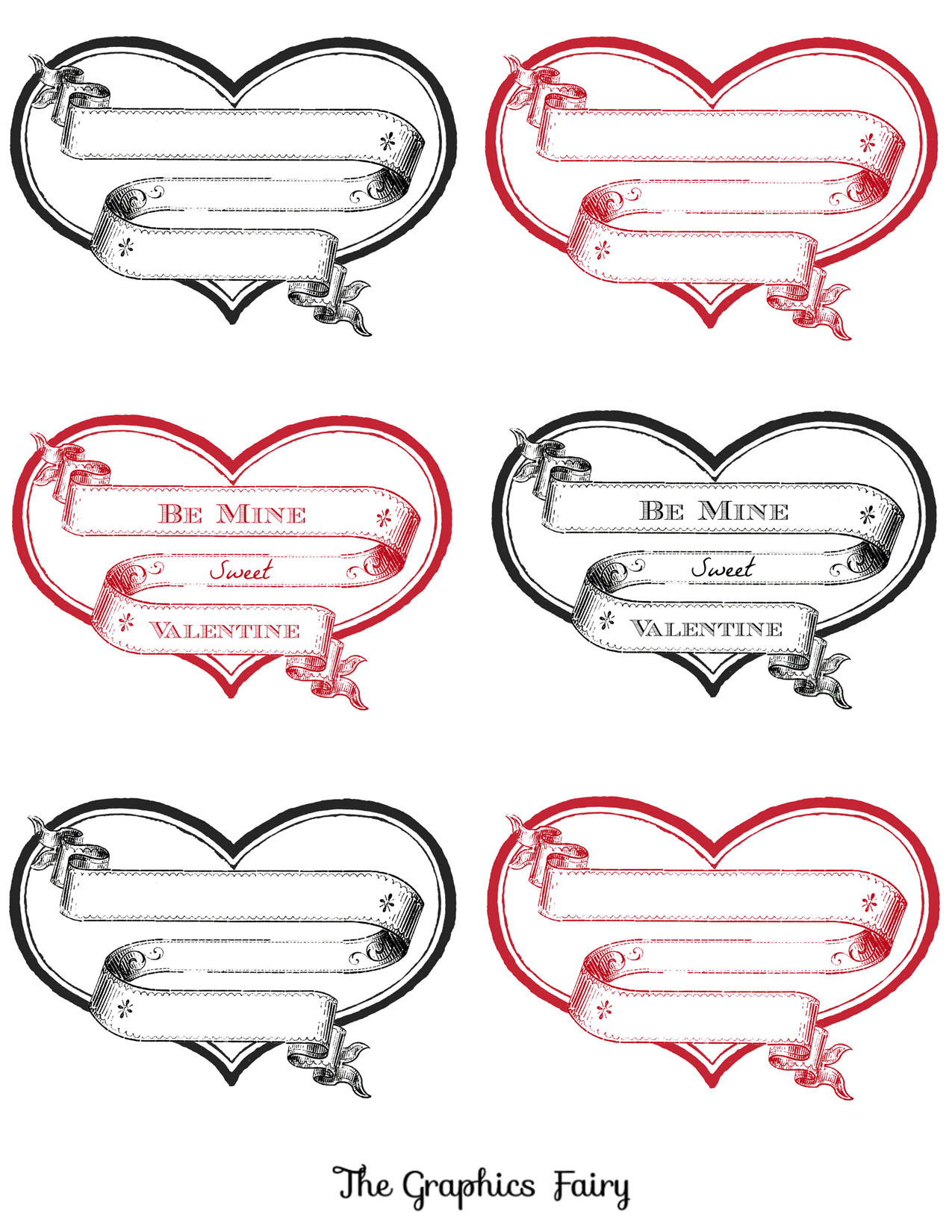 Free Printable Heart Labels - The Graphics Fairy - Free Printable Valentine Graphics