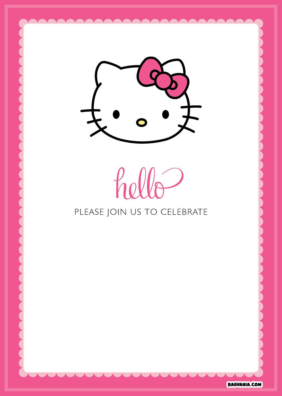 Free Printable Hello Kitty Birthday Invitations – Bagvania Free - Hello Kitty Name Tags Printable Free