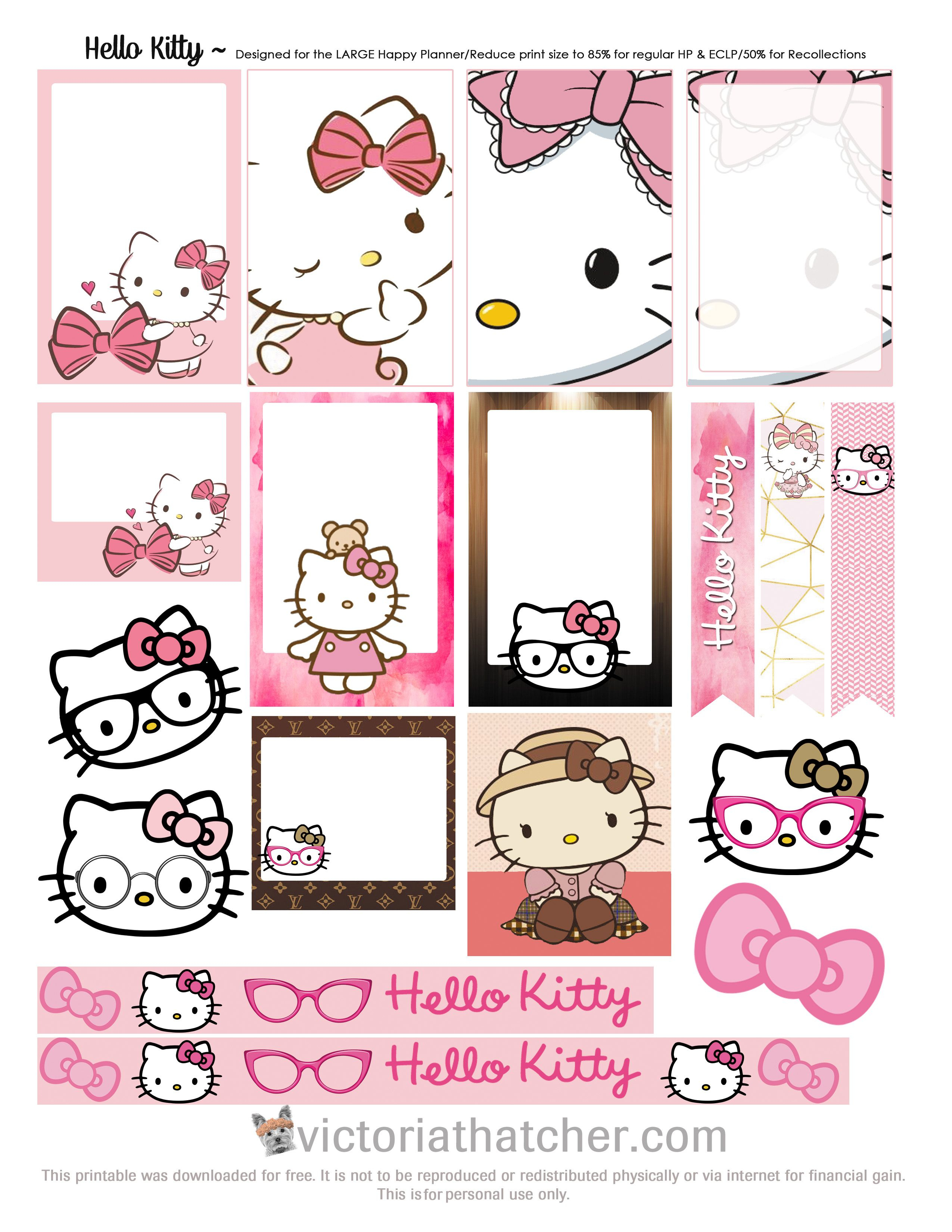 Free Printable Hello Kitty Planner Stickers From Victoria Thatcher - Hello Kitty Name Tags Printable Free