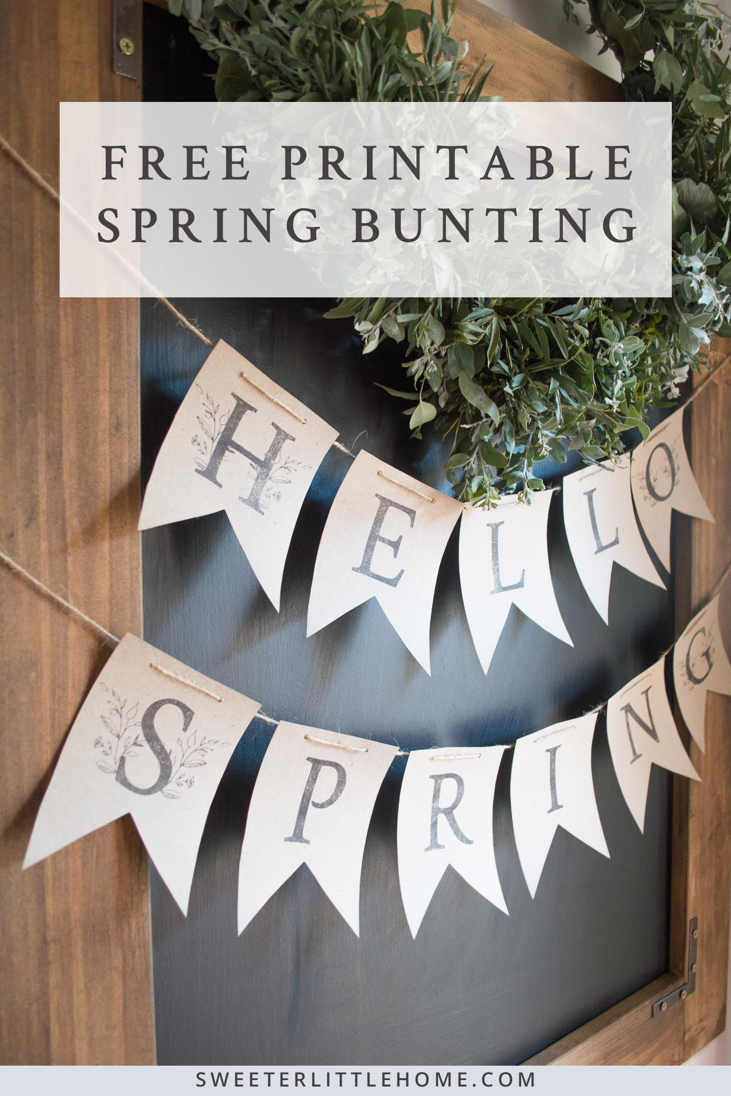 Free Printable - Hello Spring Bunting!   Farmhouse   Free Printables - Free Printable Spring Decorations