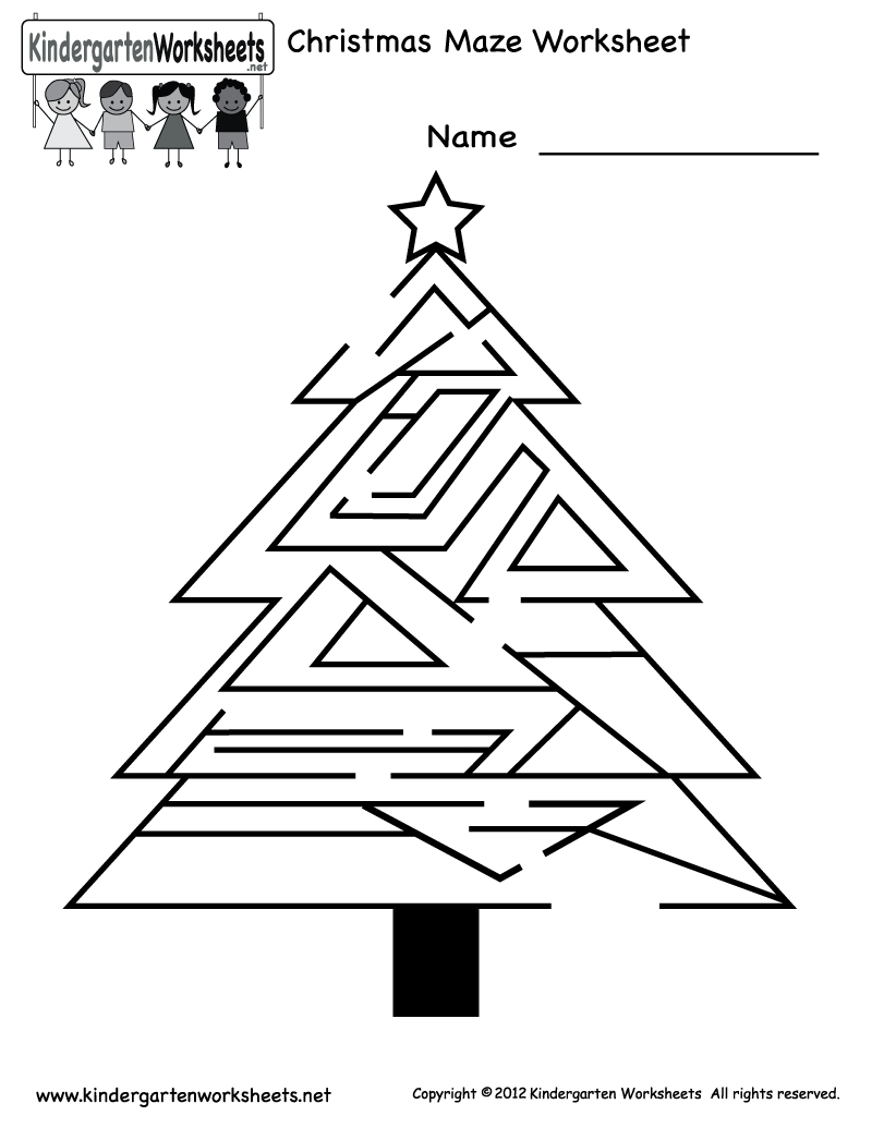 Free Printable Holiday Worksheets | Kindergarten Christmas Maze - Free Printable Christmas Activities