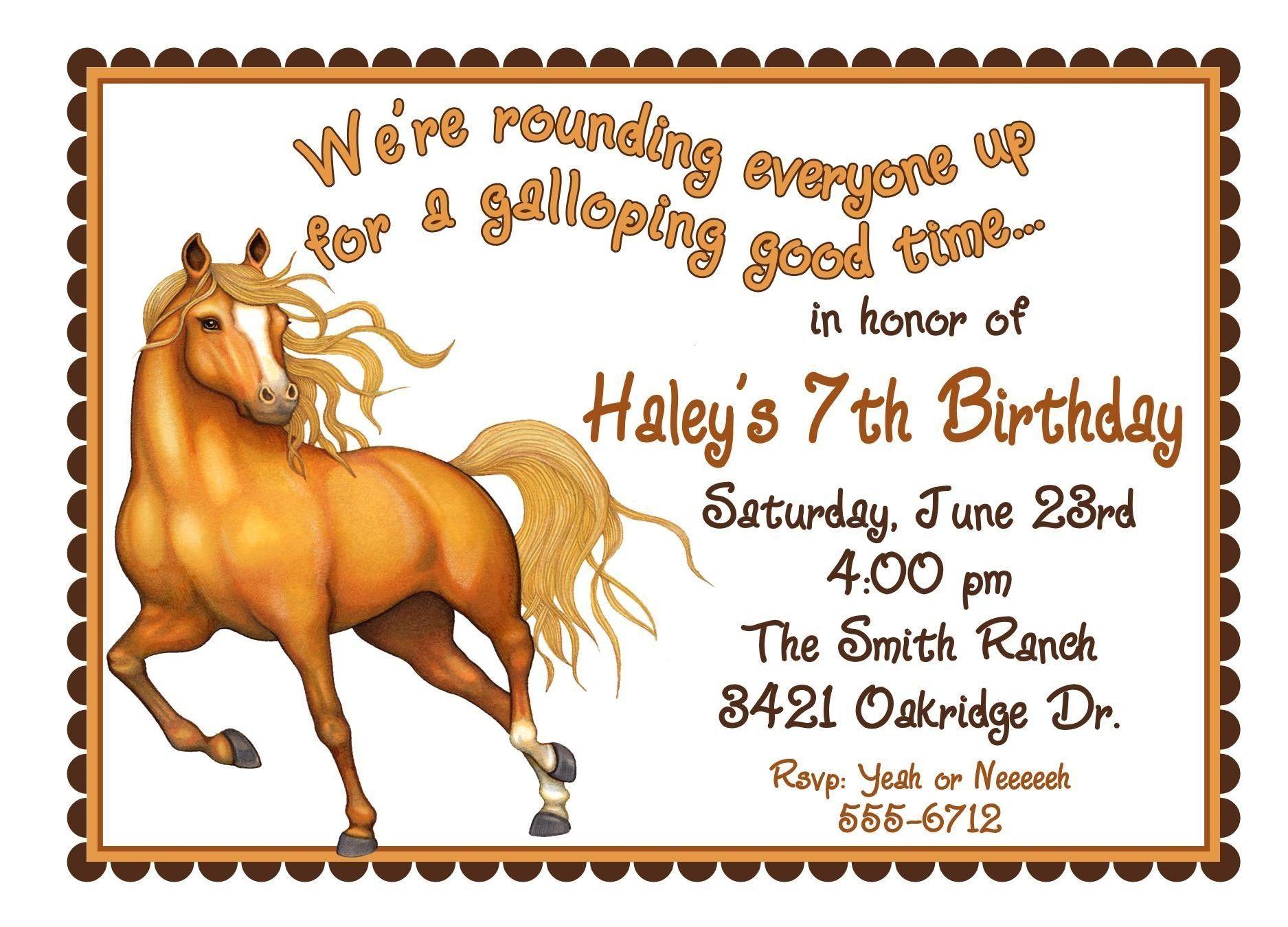 Free Printable Horse Birthday Invitations   Birthday Invitations - Free Printable Horse Themed Birthday Party Invitations