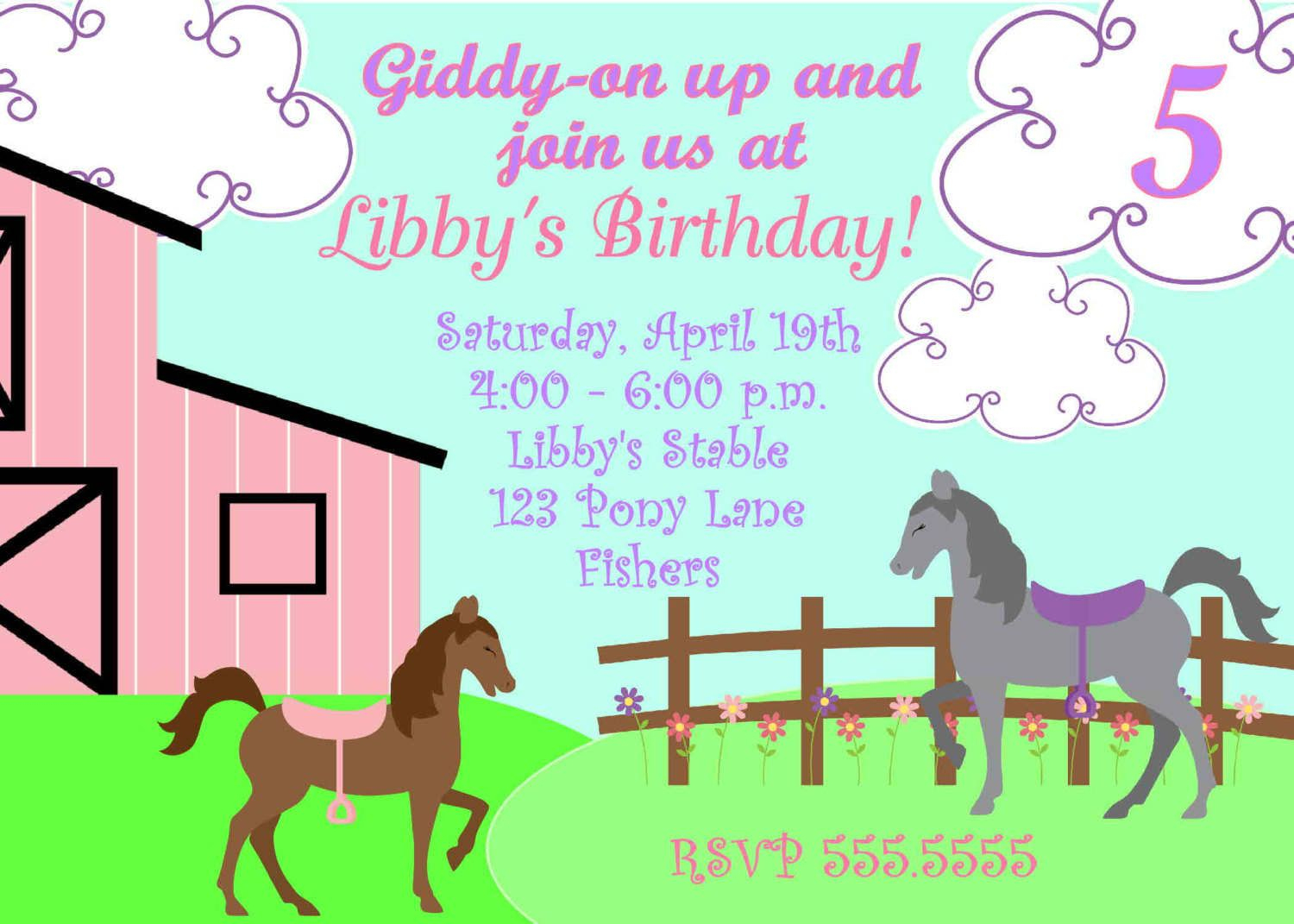 Free Printable Horse Party Invites   Horse Party Invitations - Free Printable Horse Themed Birthday Party Invitations