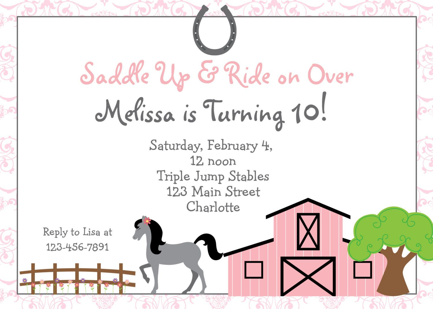 Free Printable Horse Riding Party Invitations   Birthday Invitation - Free Printable Horse Themed Birthday Party Invitations