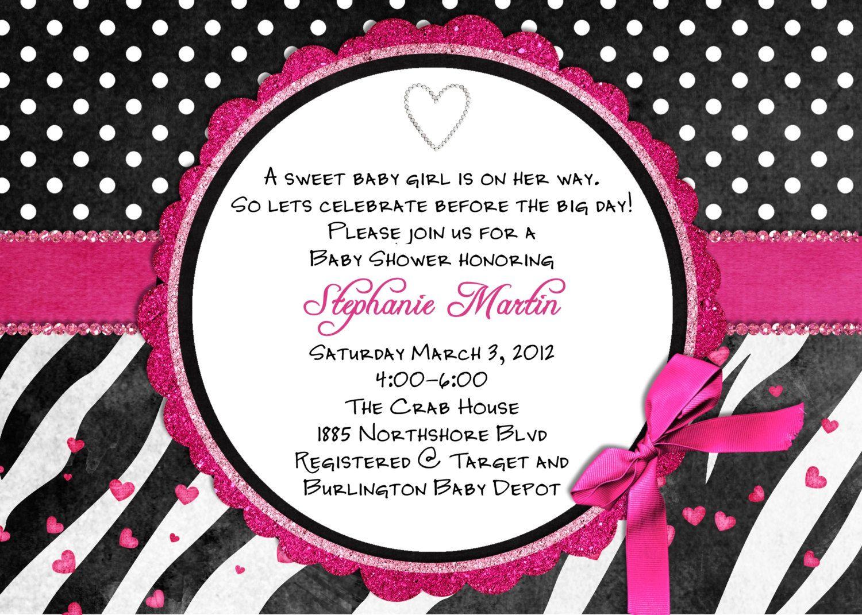 Free Printable Hot Pink Zebra Invitations | Free Printable Zebra - Free Printable Zebra Baby Shower Invitations