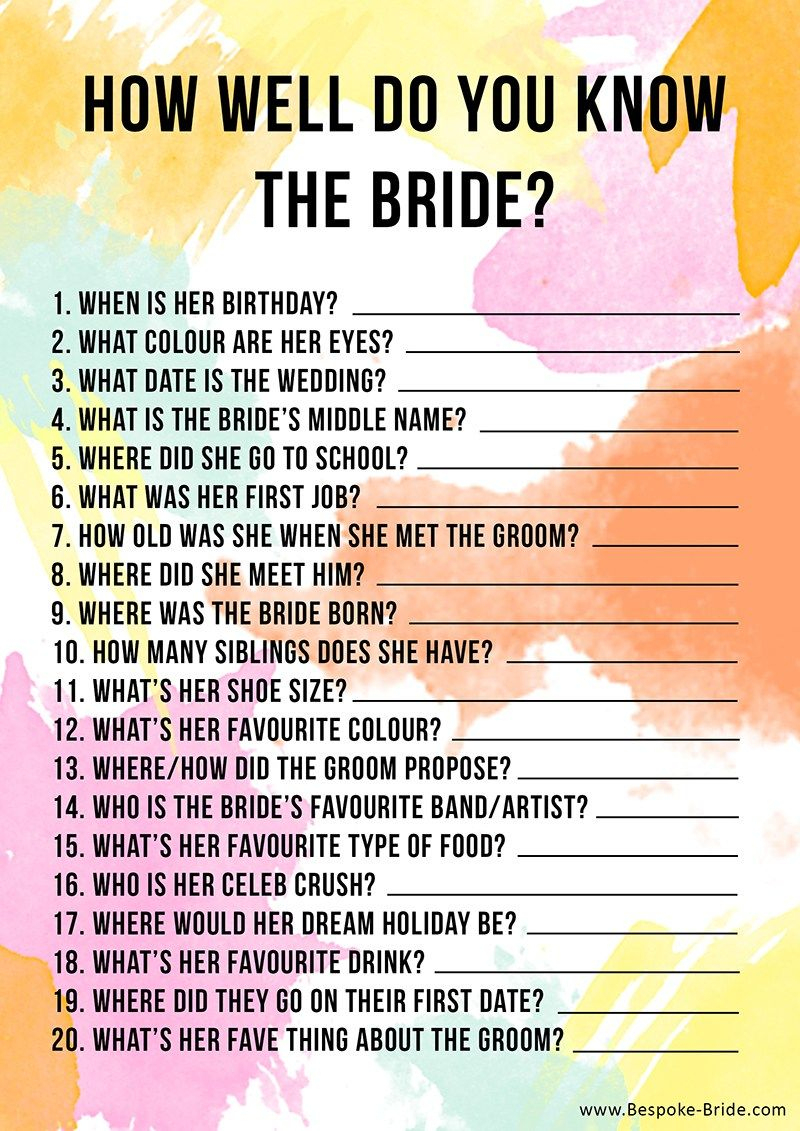Free Printable 'how Well Do You Know The Bride?' Hen Party & Bridal - How Well Does The Bride Know The Groom Free Printable