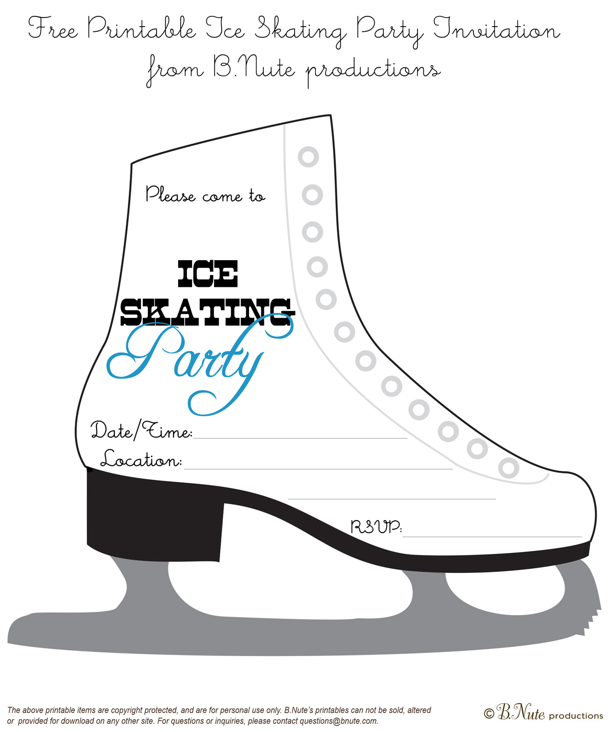 Free Printable Ice Skating Party Invitations From Bnute And Get - Free Printable Skating Invitations