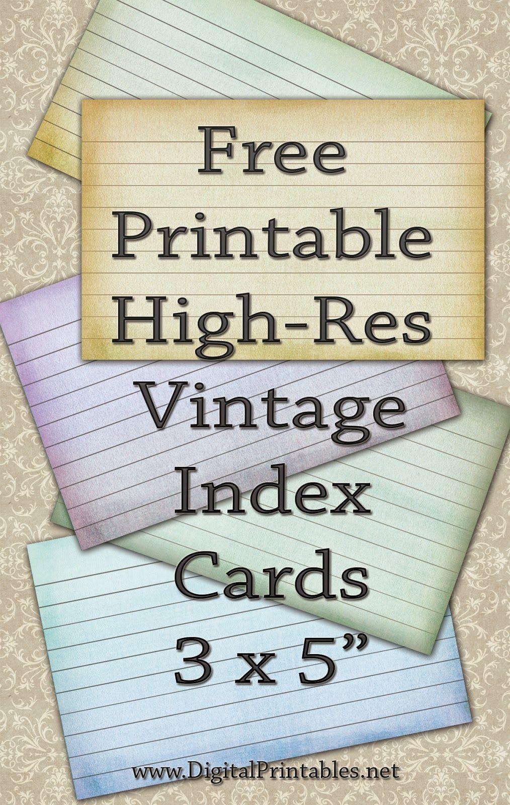 Free Printable Index Cards Vintage Look High Res   Freebies   Index - Free Printable Index Cards