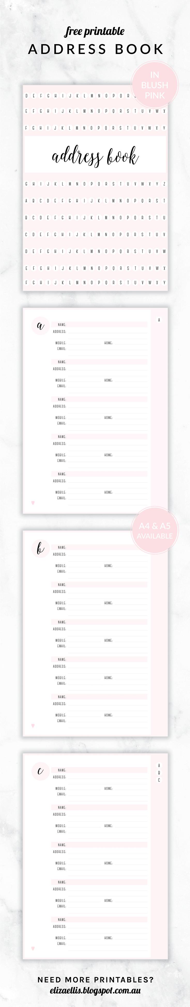 Free Printable Irma Address Book // Eliza Ellis. Available In 6 - Free Printable Address Book